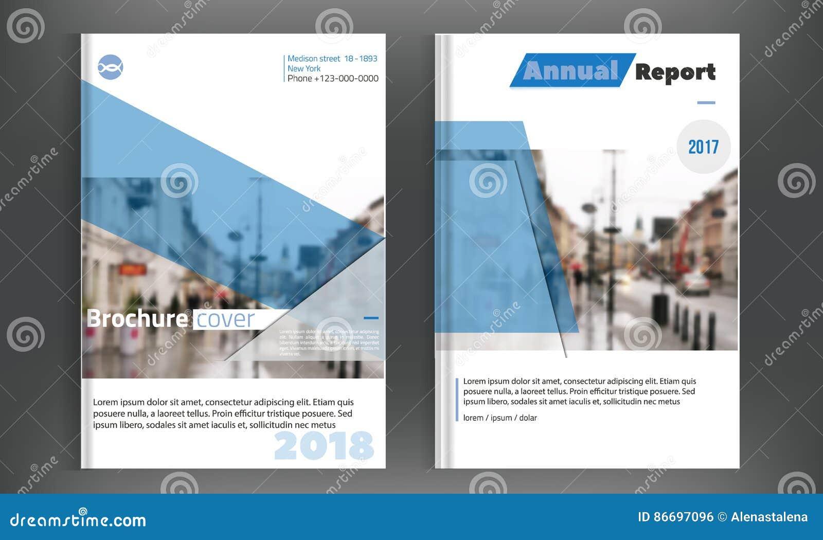 Diseño determinado del vector del folleto del negocio de la cubierta azul Fondo de la publicidad del prospecto con la ciudad blur