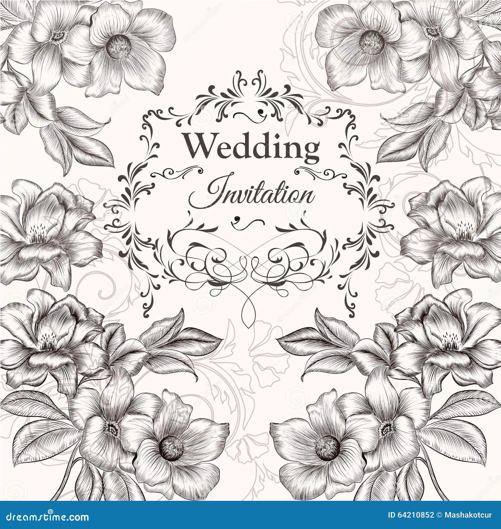 Diseño dibujado mano de la invitación del vector en estilo floral clásico