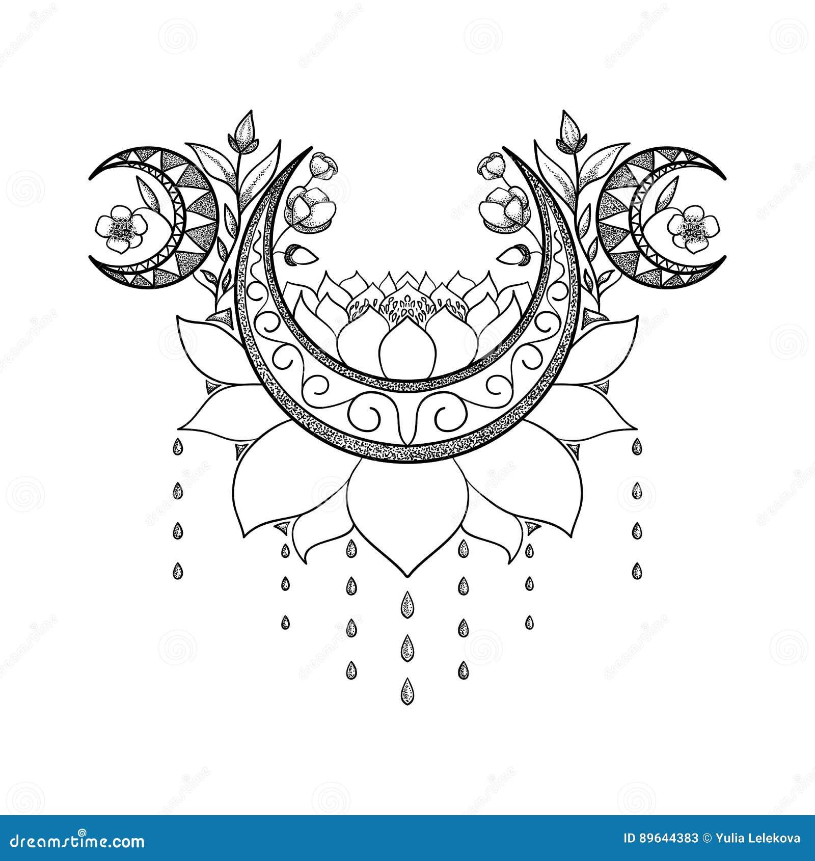 Diseño dibujado mano del tatuaje del vector Luna, loto y composición crecientes de las flores Tema sagrado