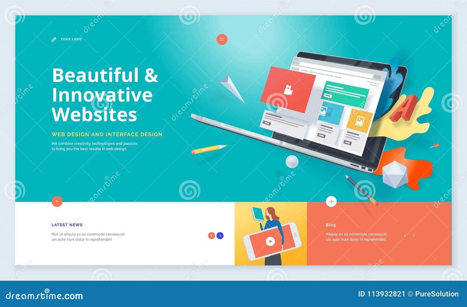 Diseño Eficaz De La Plantilla Del Sitio Web Ilustración del Vector ...