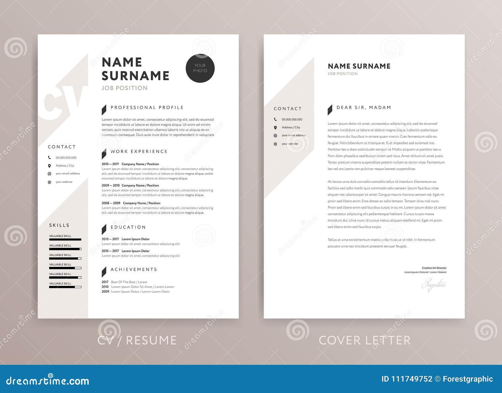 Diseño Elegante Del CV - Plantilla De La Carta De Presentación Del ...
