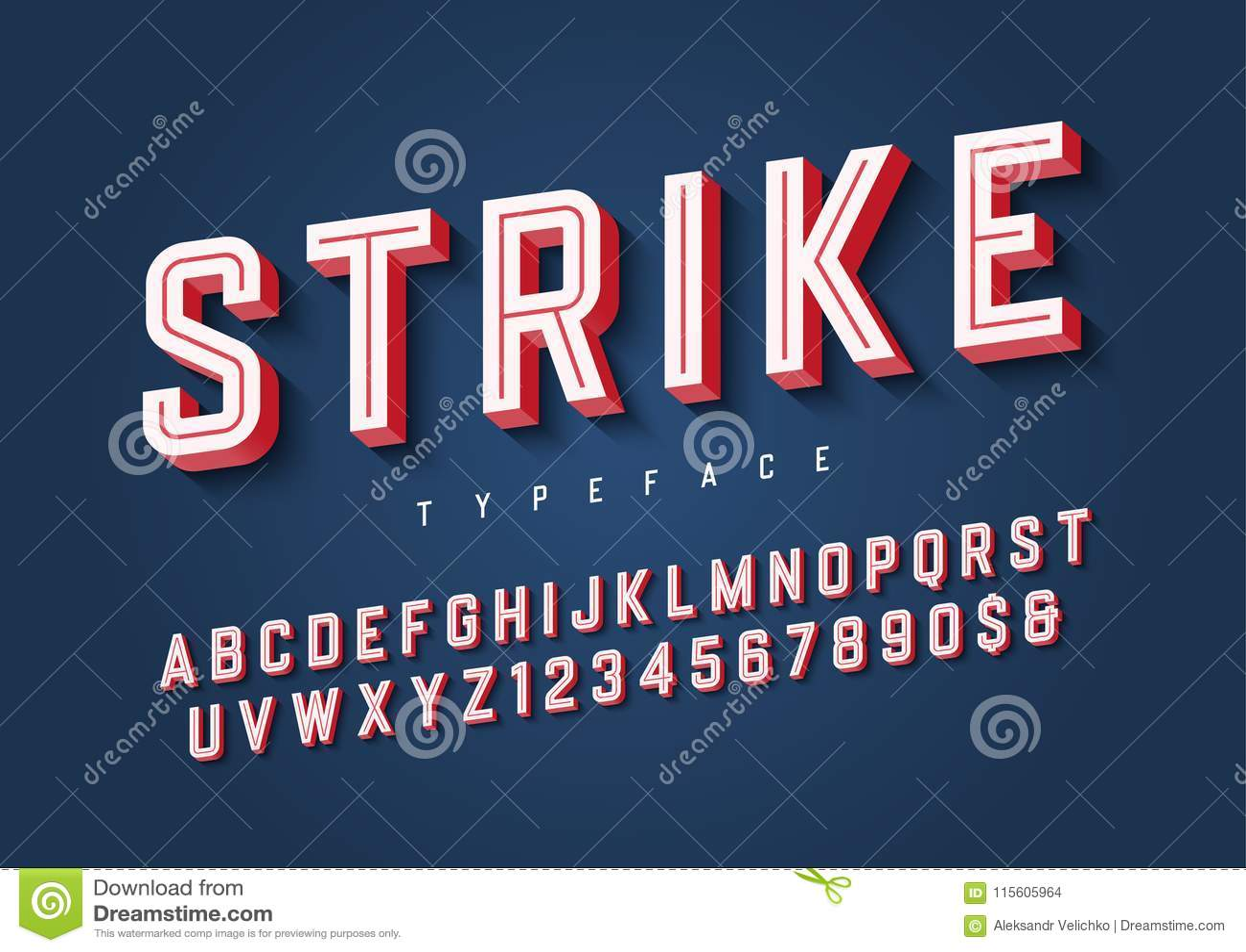Diseño en línea de moda de la fuente de la exhibición de los deportes de la huelga, alfabeto, typef