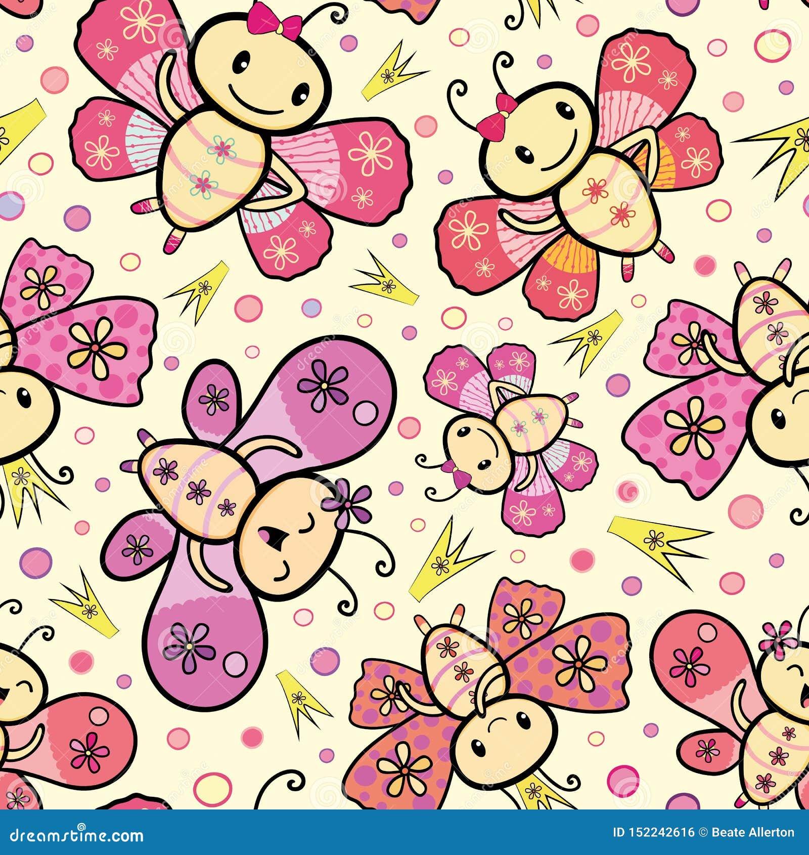 Diseño exhausto de las mariposas del baile del estilo de Kawaii del rosa y de la mano anaranjada con las coronas y los círculos a