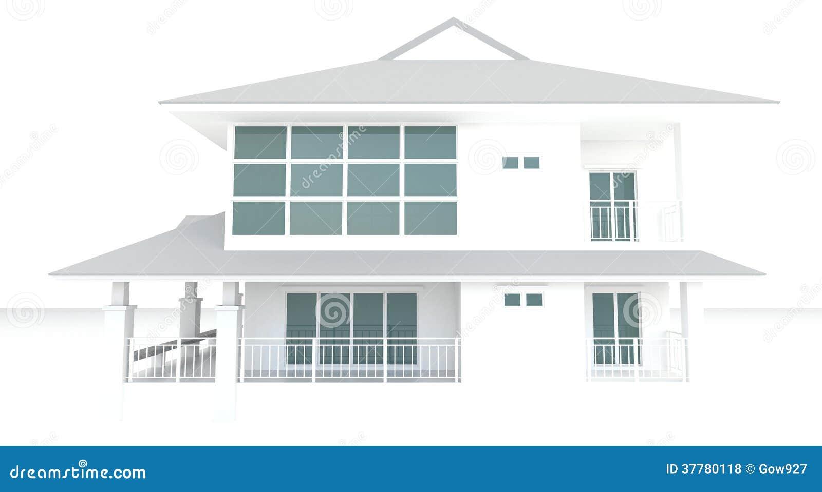 Dise o exterior de la arquitectura blanca de la casa 3d en - Diseno exterior de casas ...