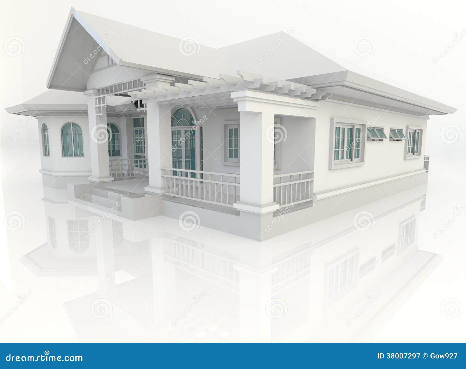 diseo exterior de la casa del vintage d con el refelction en el backgr blanco fotografa