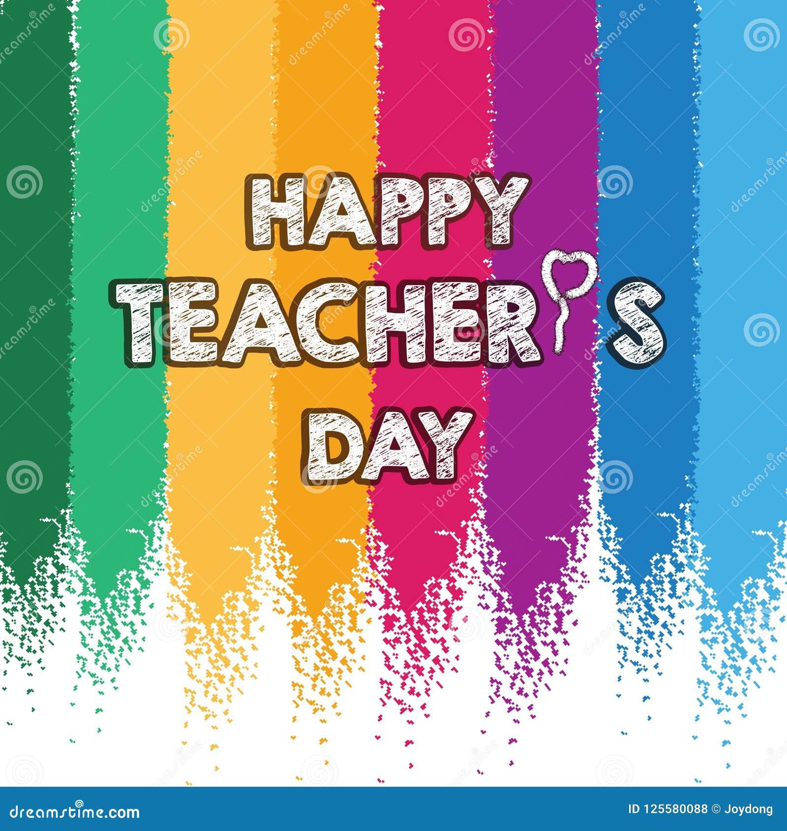 Diseño feliz de la disposición del día del ` s del profesor con la tarjeta colorida de la tiza