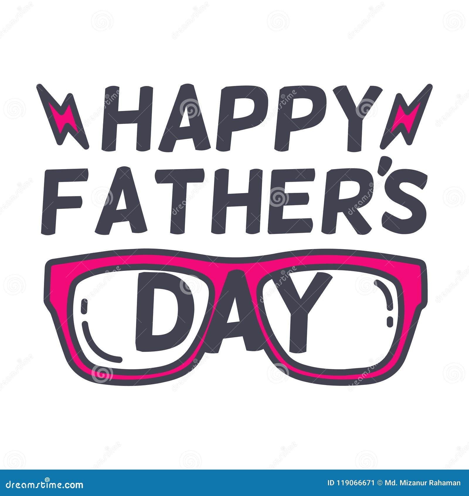 Diseño feliz de la tipografía del día del padre s con sunglass Ejemplos del vector del día del padre s