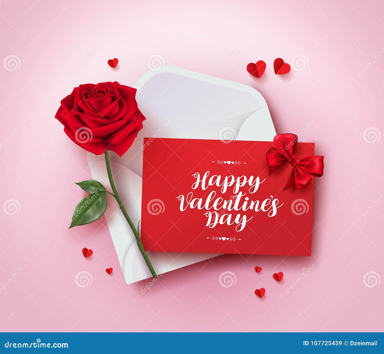 Diseño feliz del vector de la tarjeta de felicitación del día de tarjetas del día de San Valentín con la letra de amor en sobre