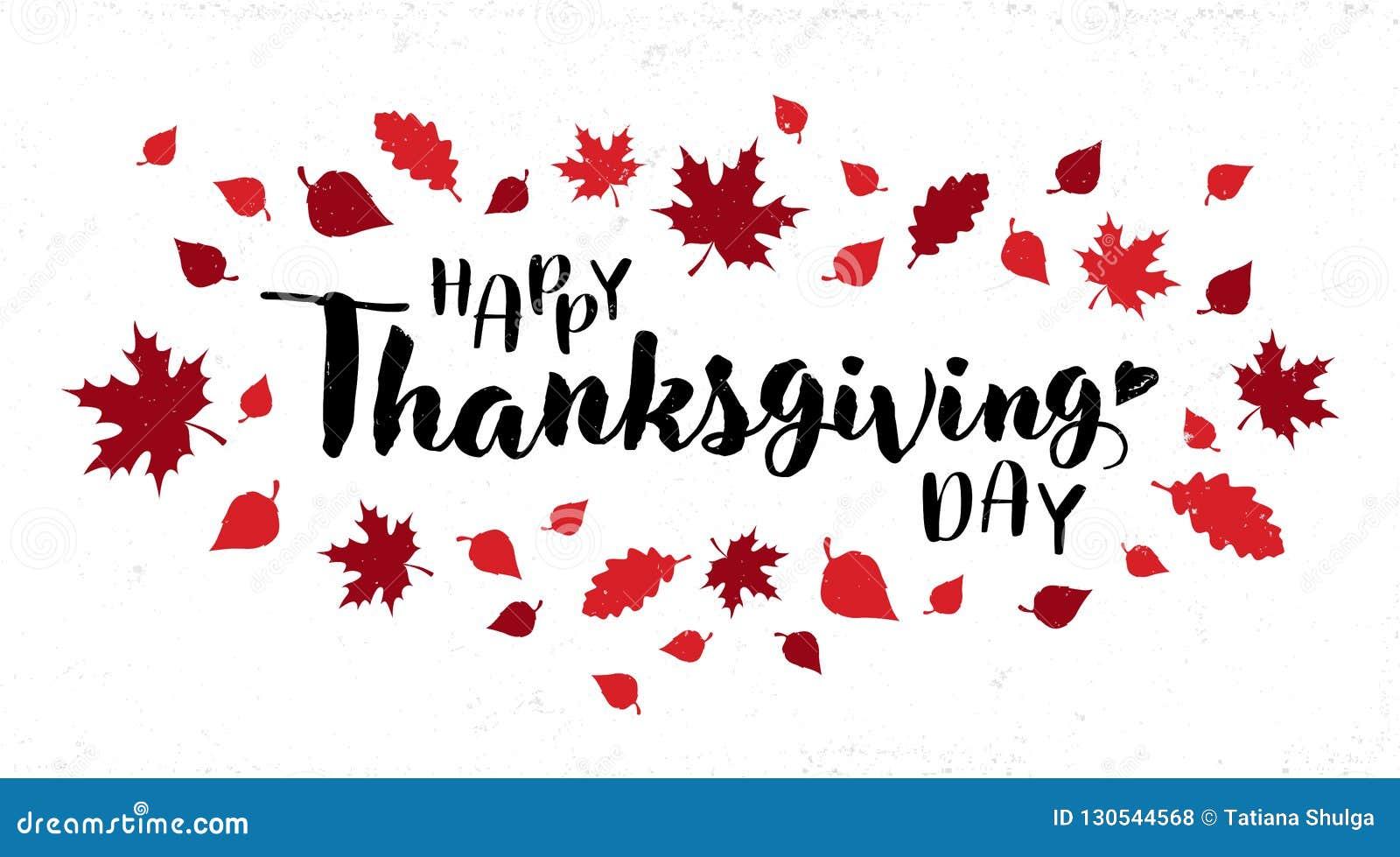 Diseño feliz del vector de la tipografía del día de la acción de gracias