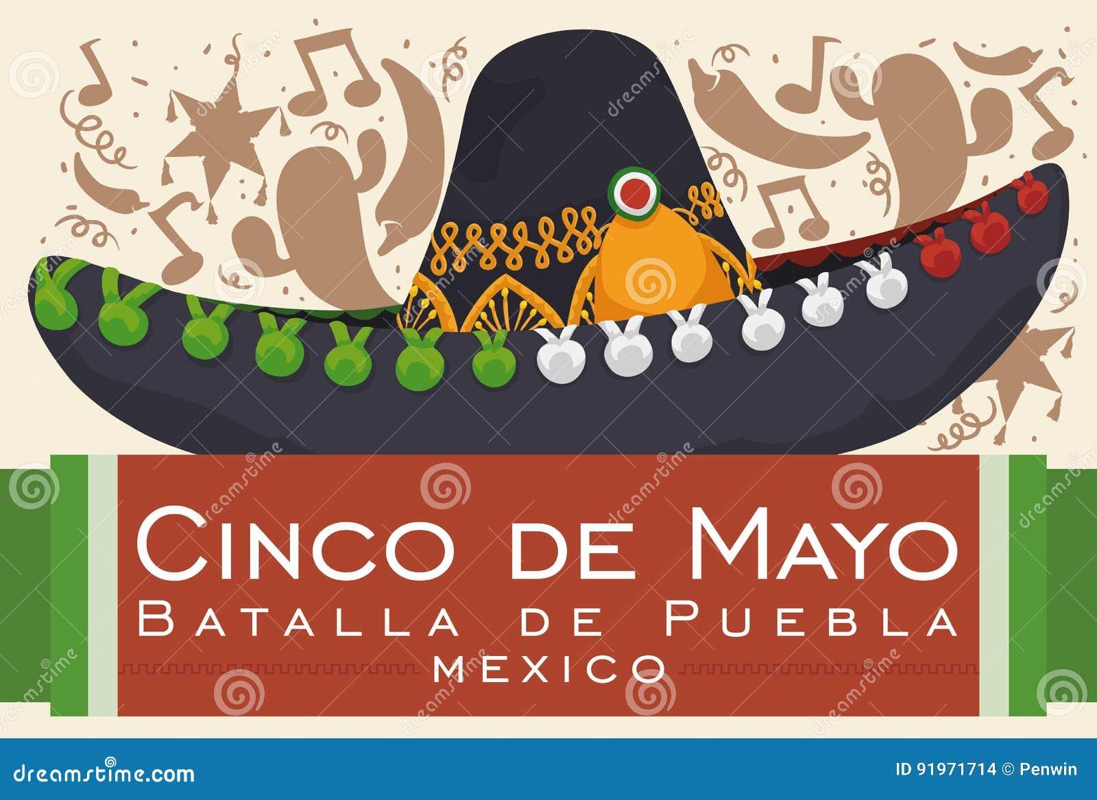 Cartel con la silueta festiva del fondo y sombrero del mariachi para la celebración  mexicana de la batalla de Puebla en Cinco de Mayo - escrito en español 1e04b47ea66