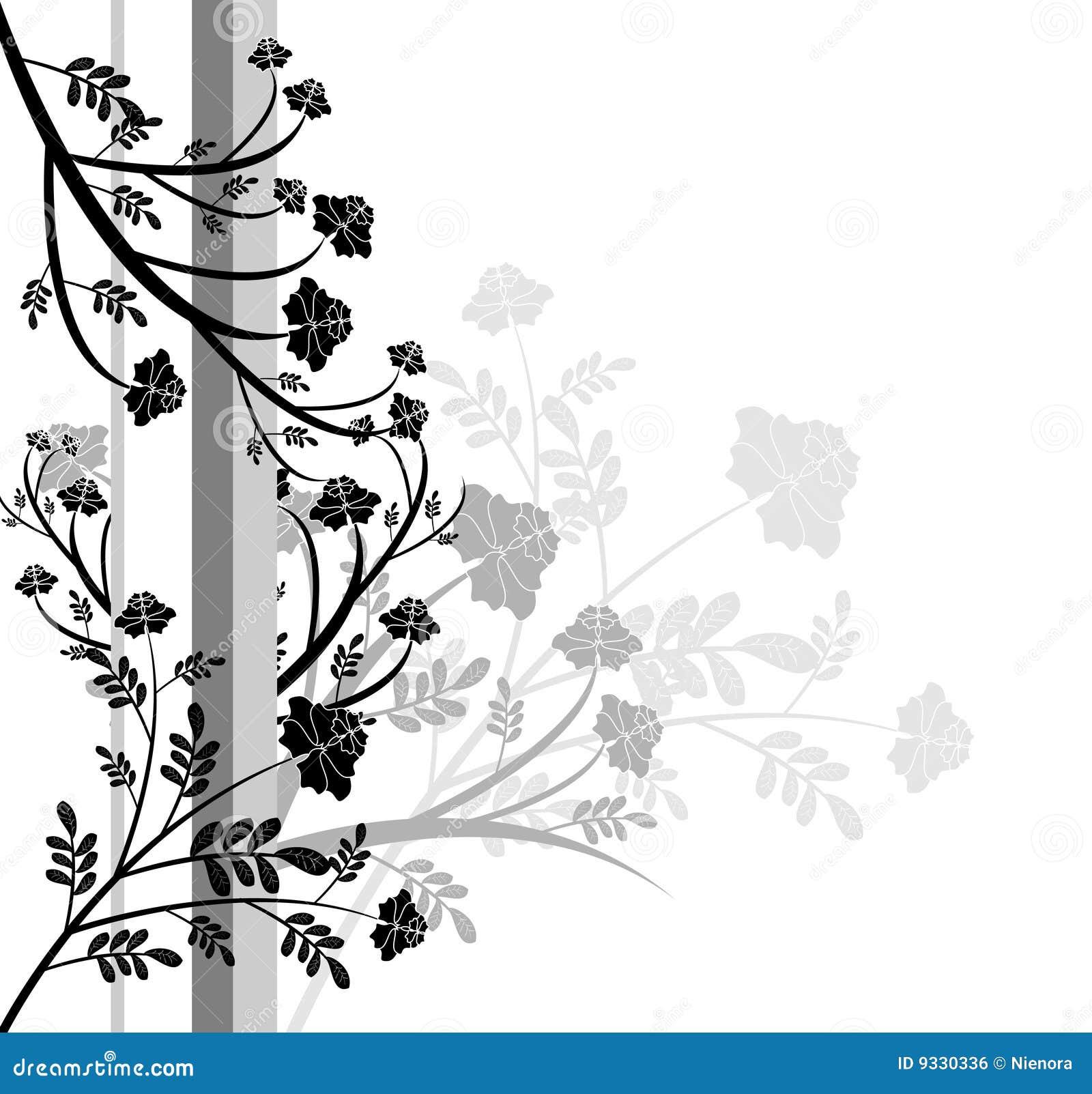 Dise o floral blanco y negro ilustraci n del vector for Aparador blanco y negro
