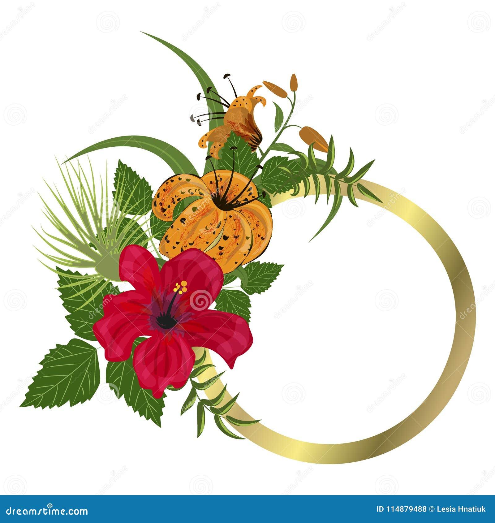 Diseño Floral De La Hawaiana De La Hoja Del Verano Del Marco
