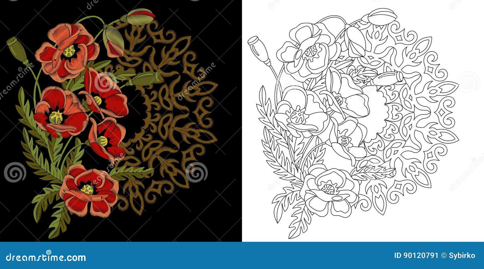 Diseño floral del bordado ilustración del vector. Ilustración de ...
