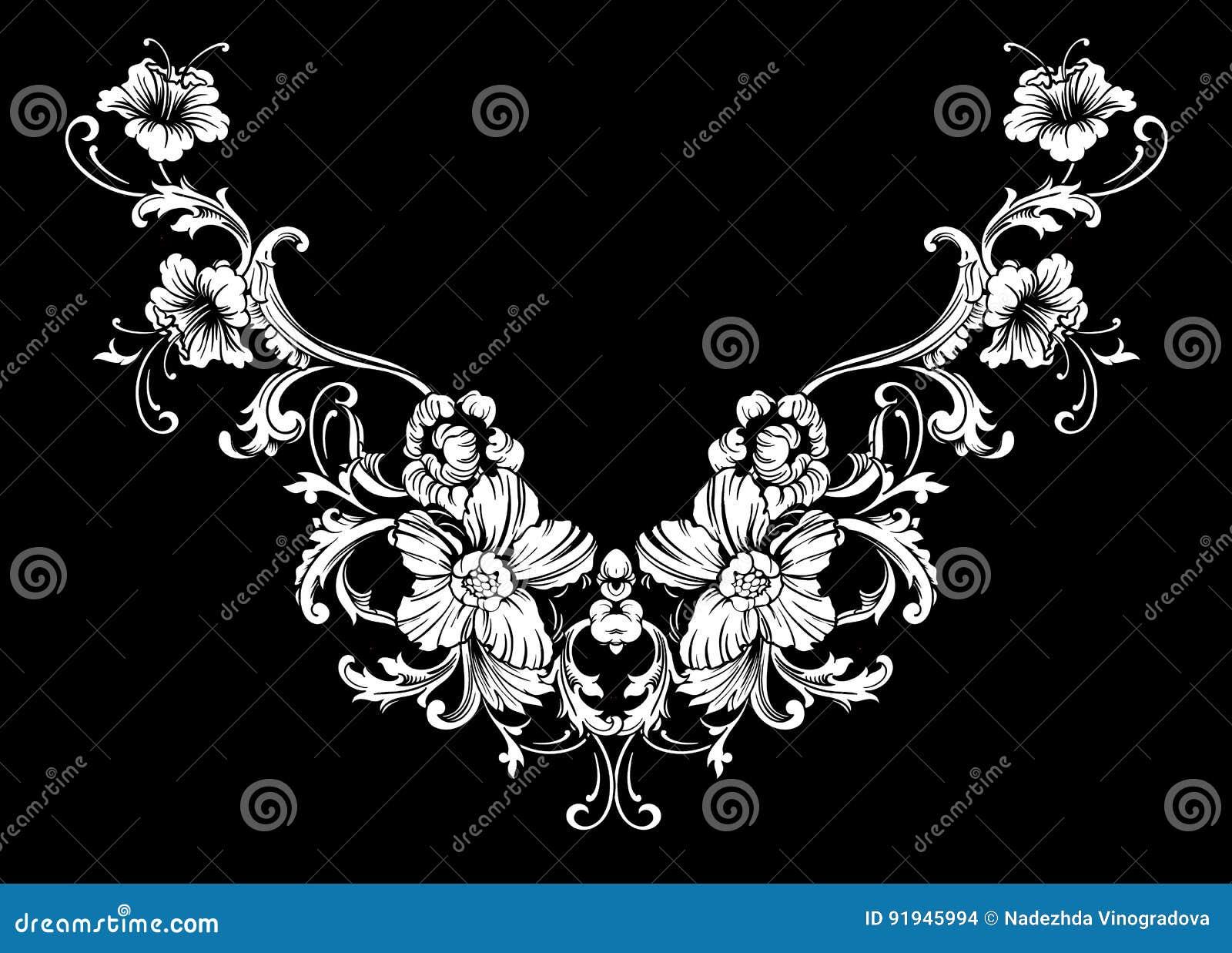 Diseño floral del bordado del cuello en estilo barroco