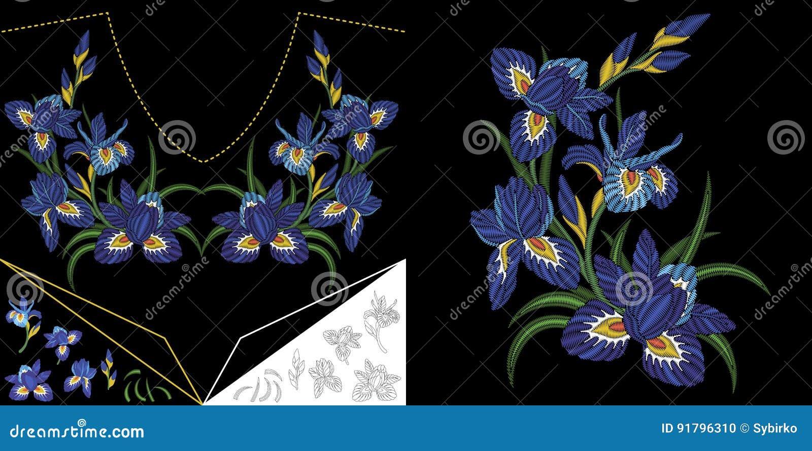 Diseño floral del escote del bordado