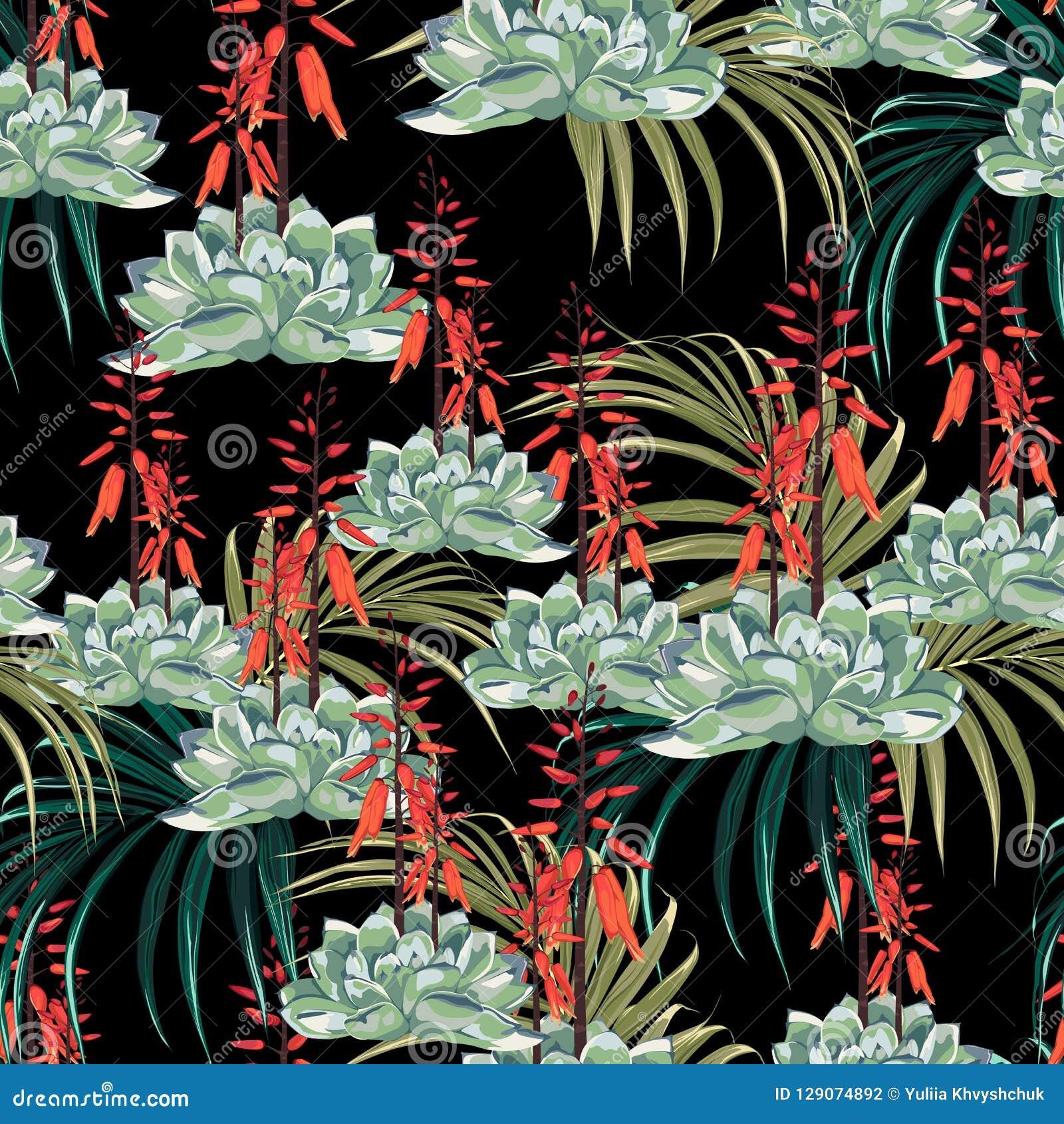 Diseño floral del estilo de la acuarela del vector inconsútil del modelo: suculento en la floración con las flores y las palmas a