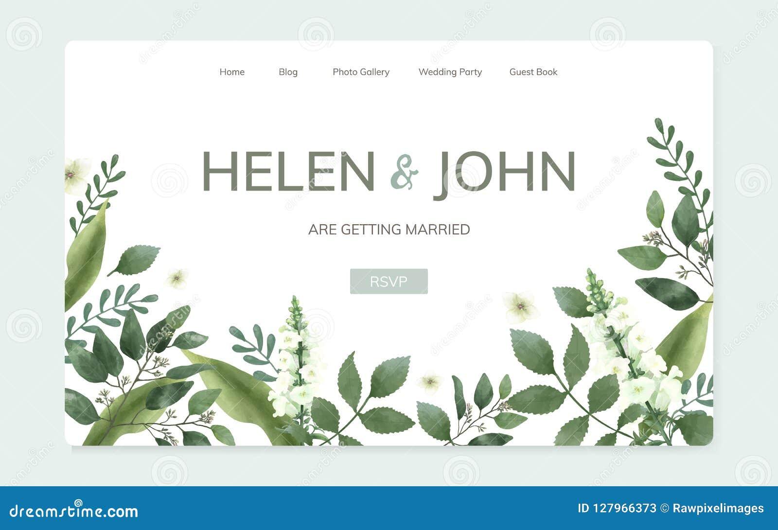 Diseño floral del sitio web de la invitación de la boda