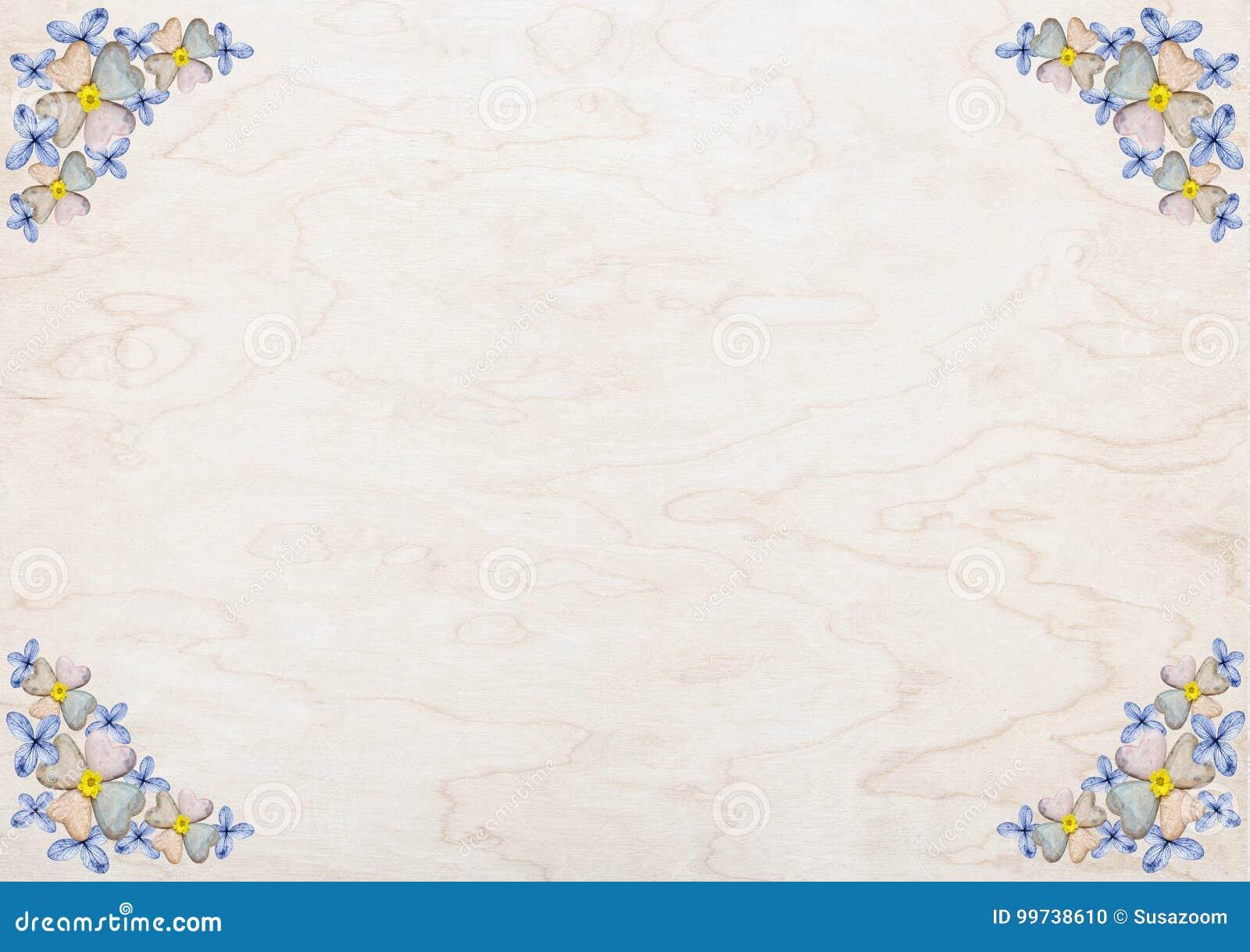 Diseño floral del vintage con los corazones del flor y de la piedra de la hortensia