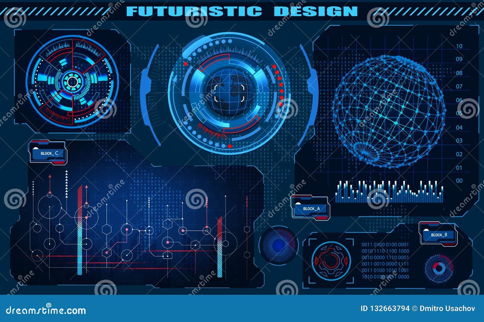 Diseño futurista del hud del interfaz gráfico, elementos infographic, holograma del globo Tema y ciencia, el tema de