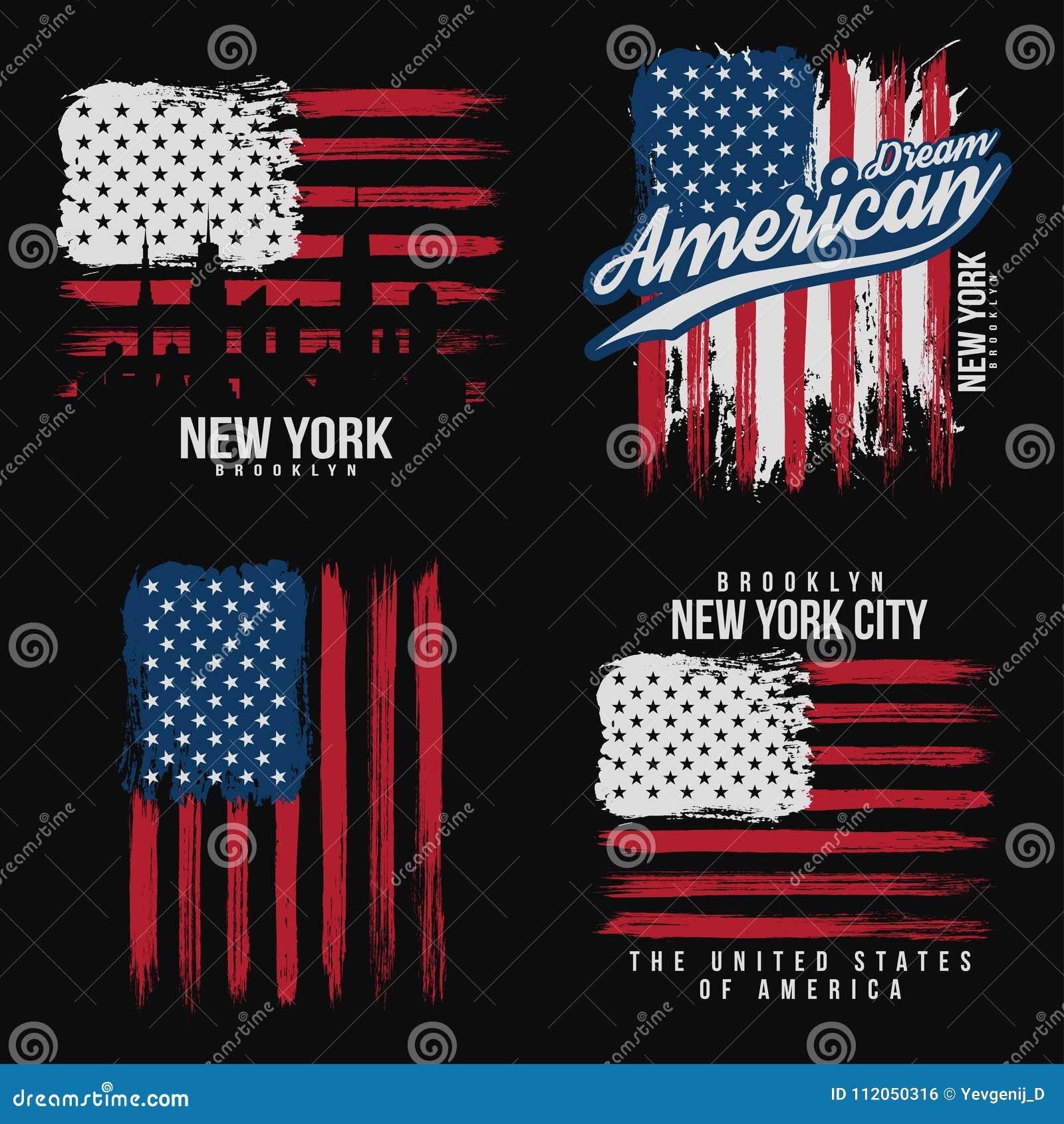 Diseño gráfico de la camiseta con textura de la bandera americana y del grunge Diseño de la camisa de la tipografía de Nueva York