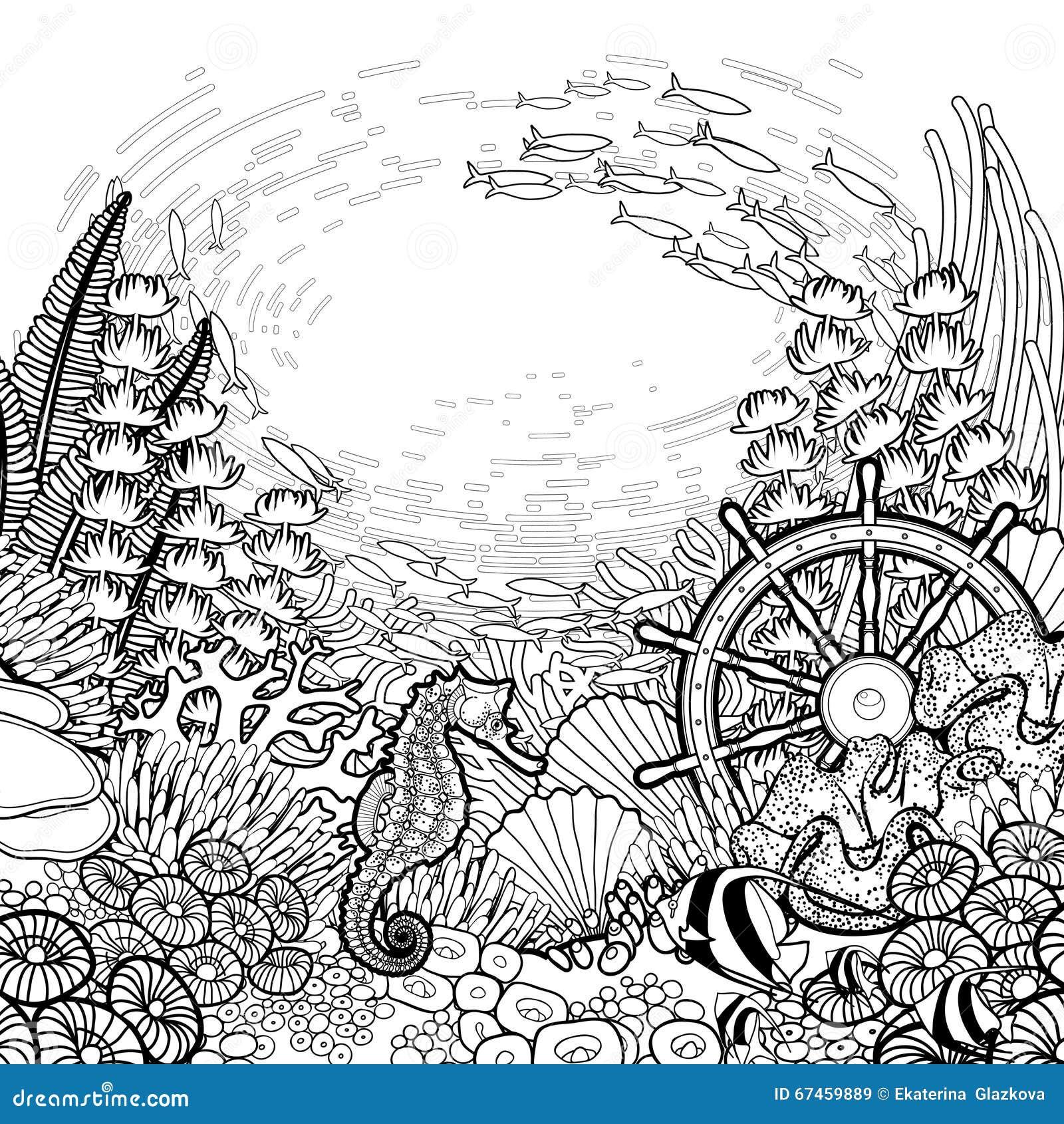 Diseño Gráfico Del Arrecife De Coral Ilustración del Vector ...