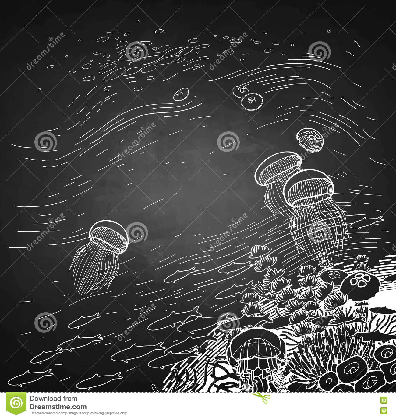Diseño Gráfico Del Arrecife De Coral Con Las Medusas Ilustración del ...