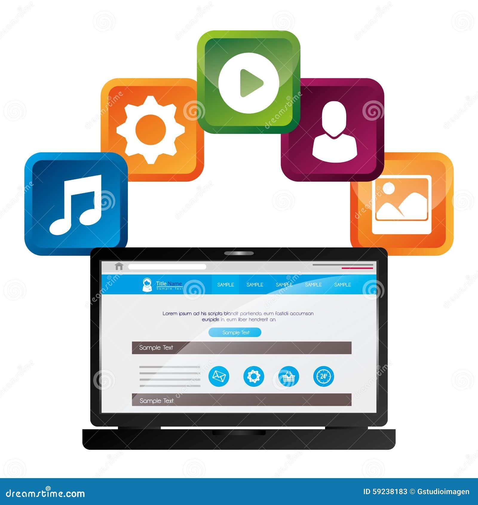 Download Diseño Gráfico Del Medios Entretenimiento Social Ilustración del Vector - Ilustración de objeto, engranaje: 59238183