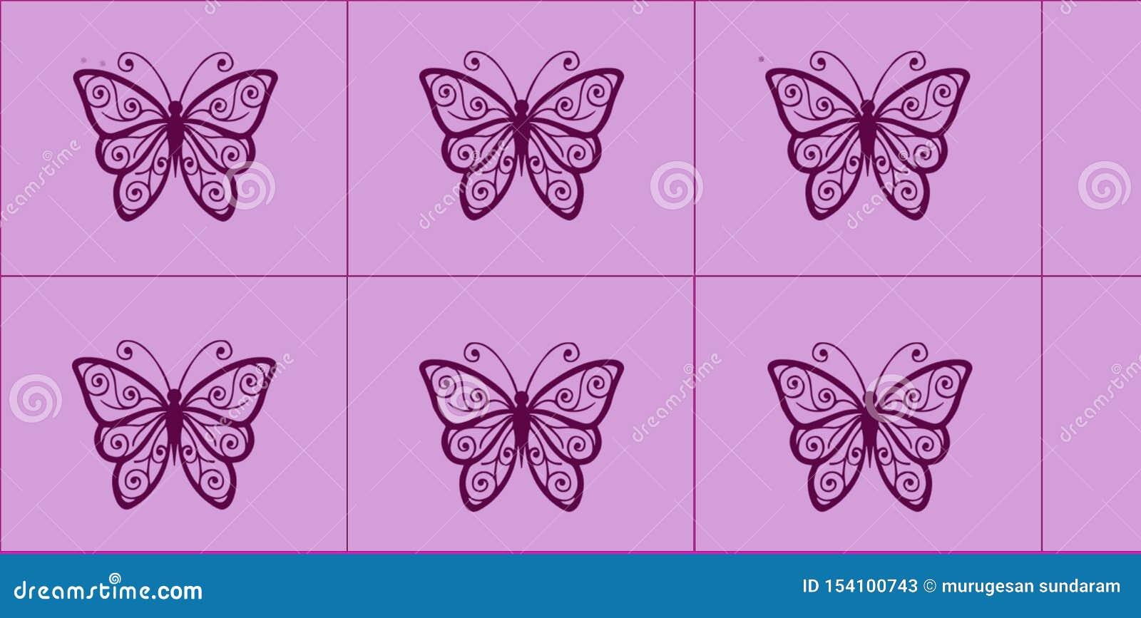 Diseño gráfico hermoso de la teja con el fondo rosado y la mariposa negra para los niños o el trabajo de la teja de la pared de l