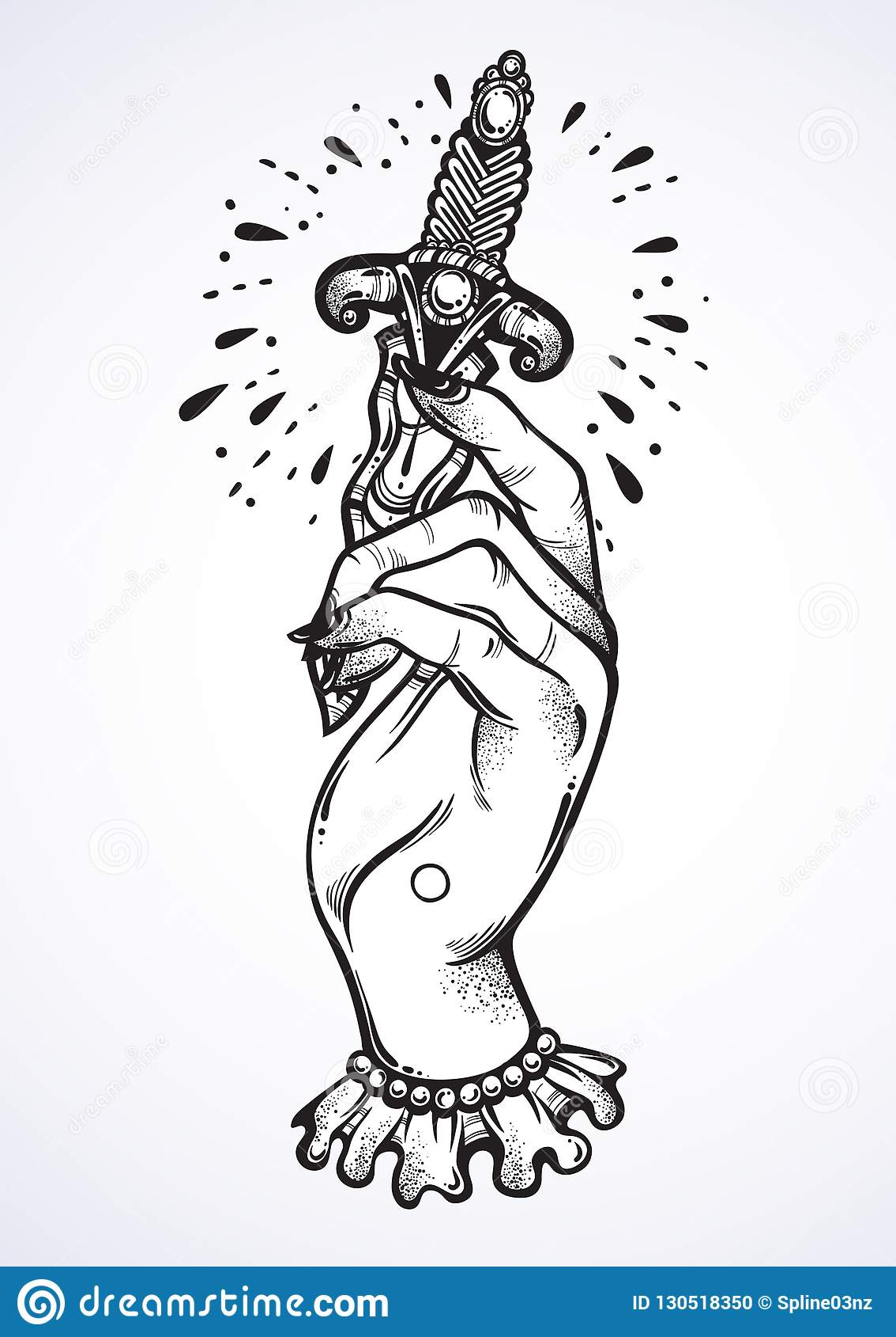 Diseno Hermoso Del Tatuaje Del Blackwork La Mano De La Mujer Del