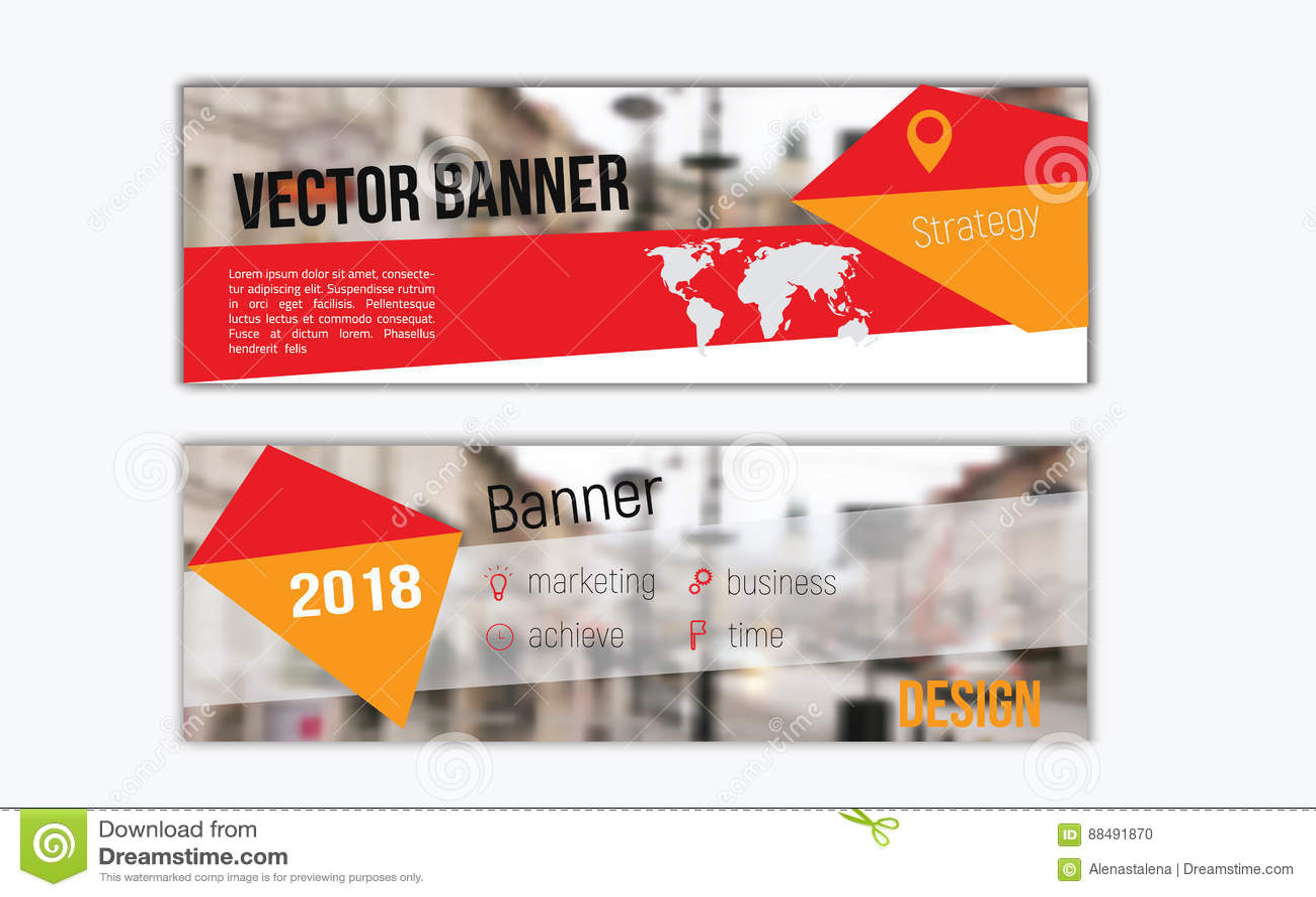 Diseño Horizontal Plano De La Bandera Con La Capa De La Foto ...