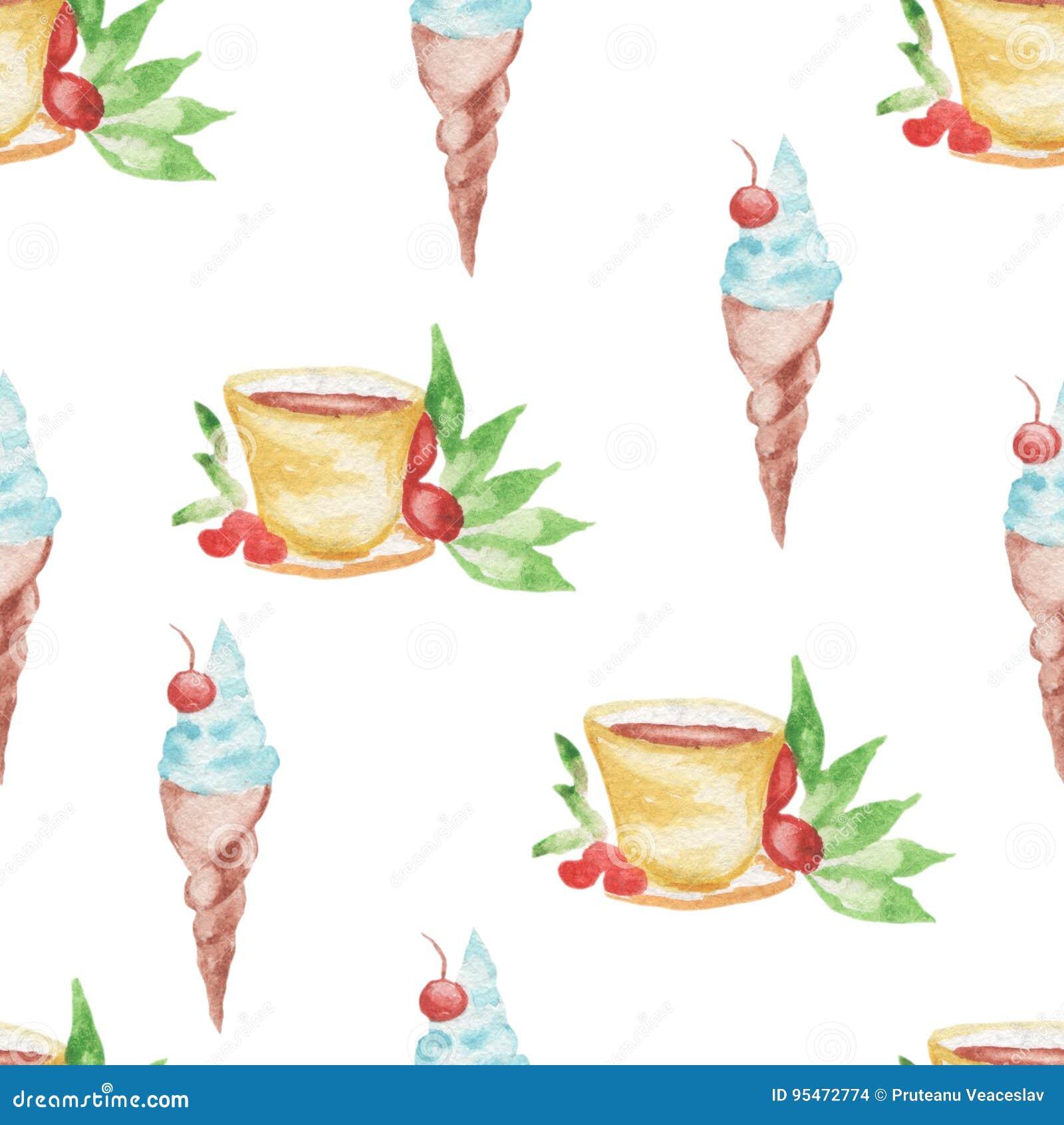 Diseño inconsútil del helado y del café del modelo de la acuarela en el fondo blanco