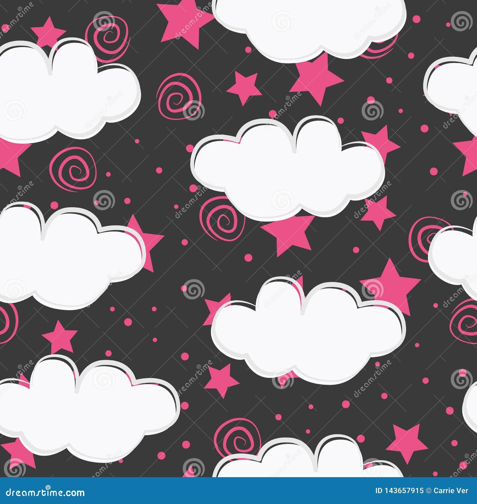 Diseño inconsútil del modelo de los niños de las nubes y de las estrellas