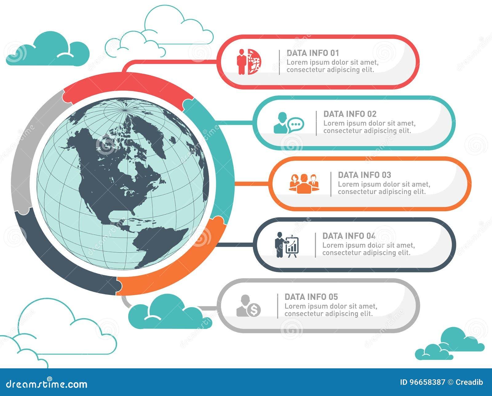 Diseño Infographic Del Vector Del Mapa Del Mundo Plantilla Del ...
