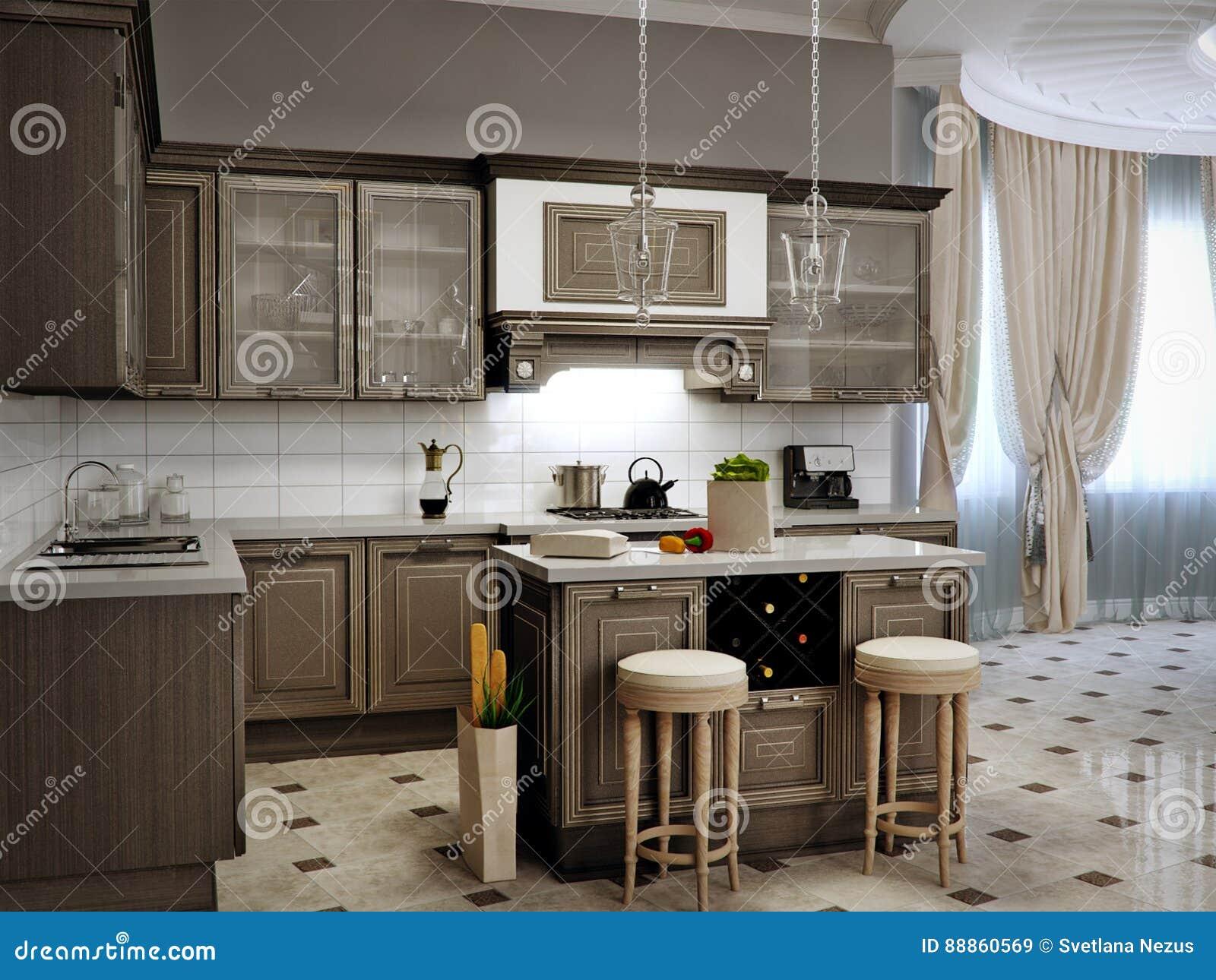 Dise o interior cl sico de la sala de estar de la cocina for Diseno de interiores sala de estar comedor
