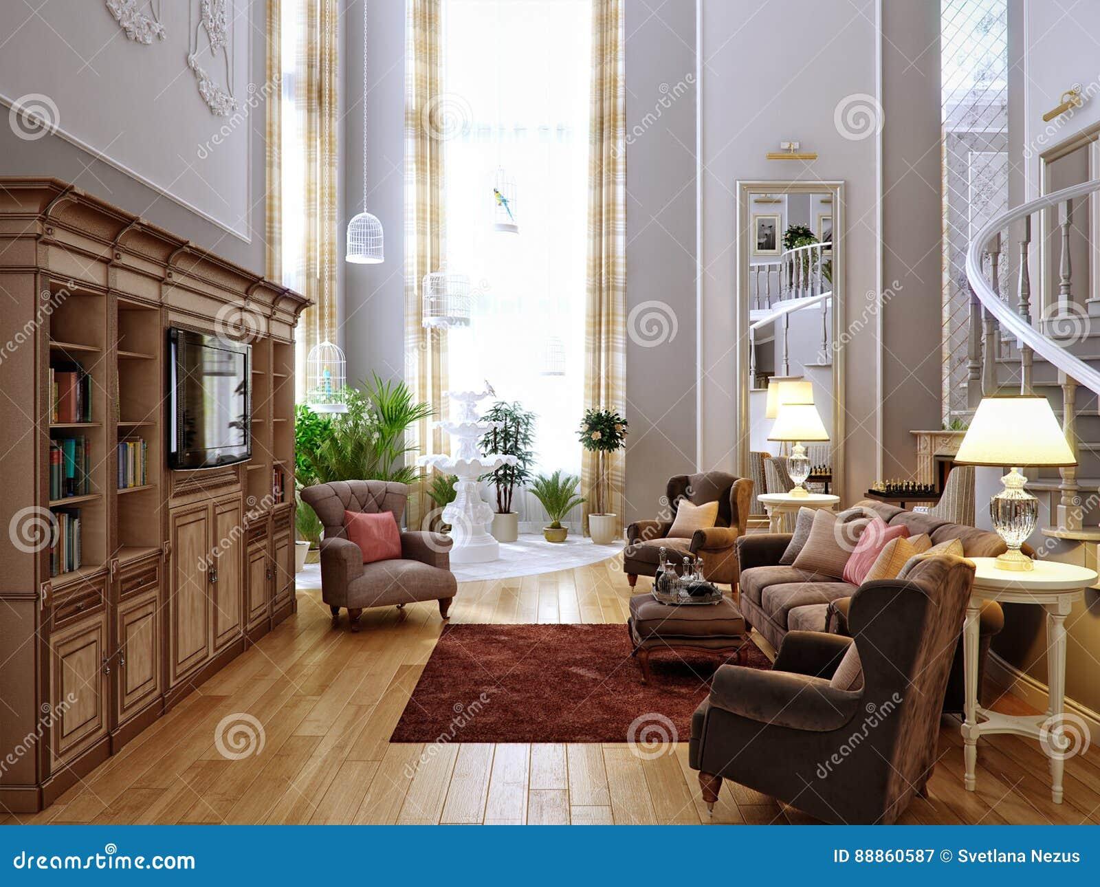 Dise o interior cl sico de la sala de estar de la cocina for Sala de estar estancia cocina abierta