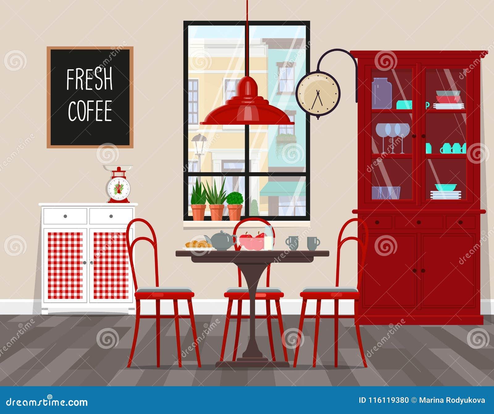Diseño Interior De Café, Cocina, Comedor En Estilo Retro Ejemplo ...