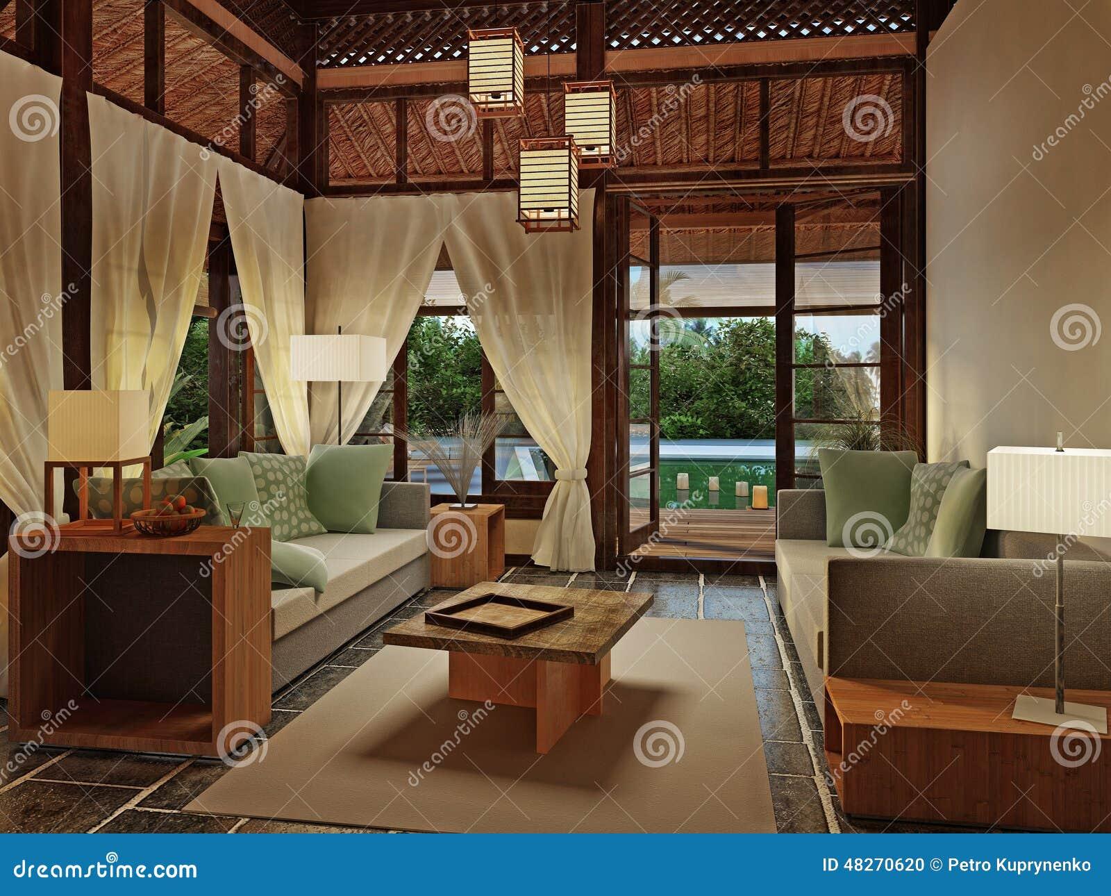 Diseño Interior De La Casa De Planta Baja. Café, Tela.