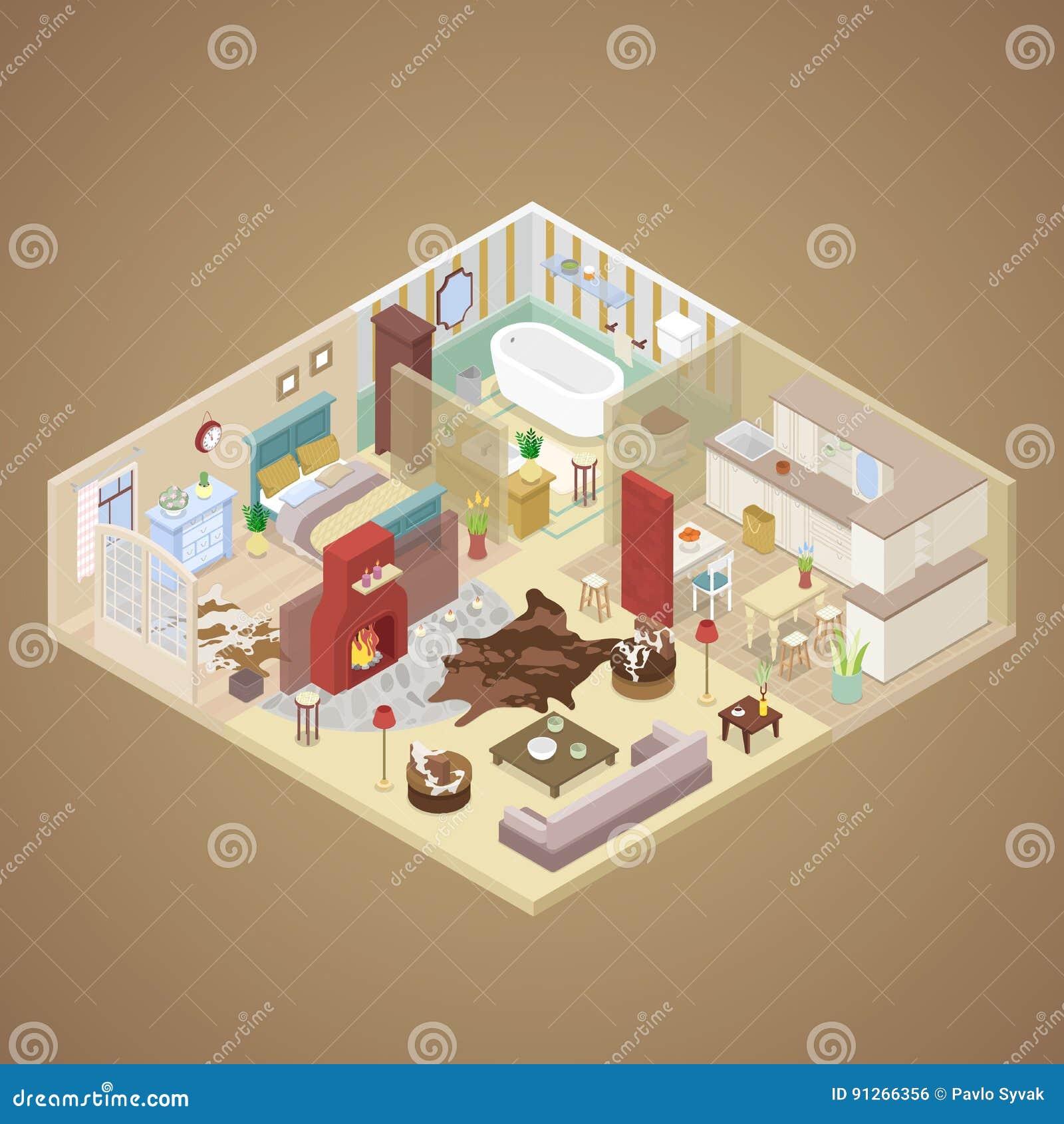 Diseño Interior De La Casa Rural Con La Sala De Estar, El Dormitorio ...