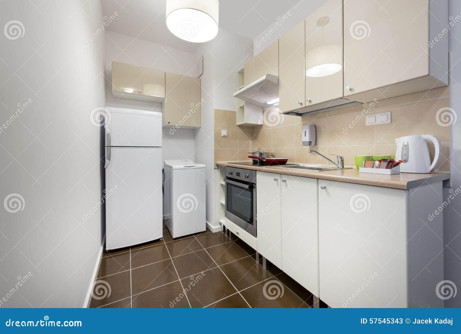 Diseño Interior De La Cocina Blanca, Pequeña Y Compacta Imagen de ...