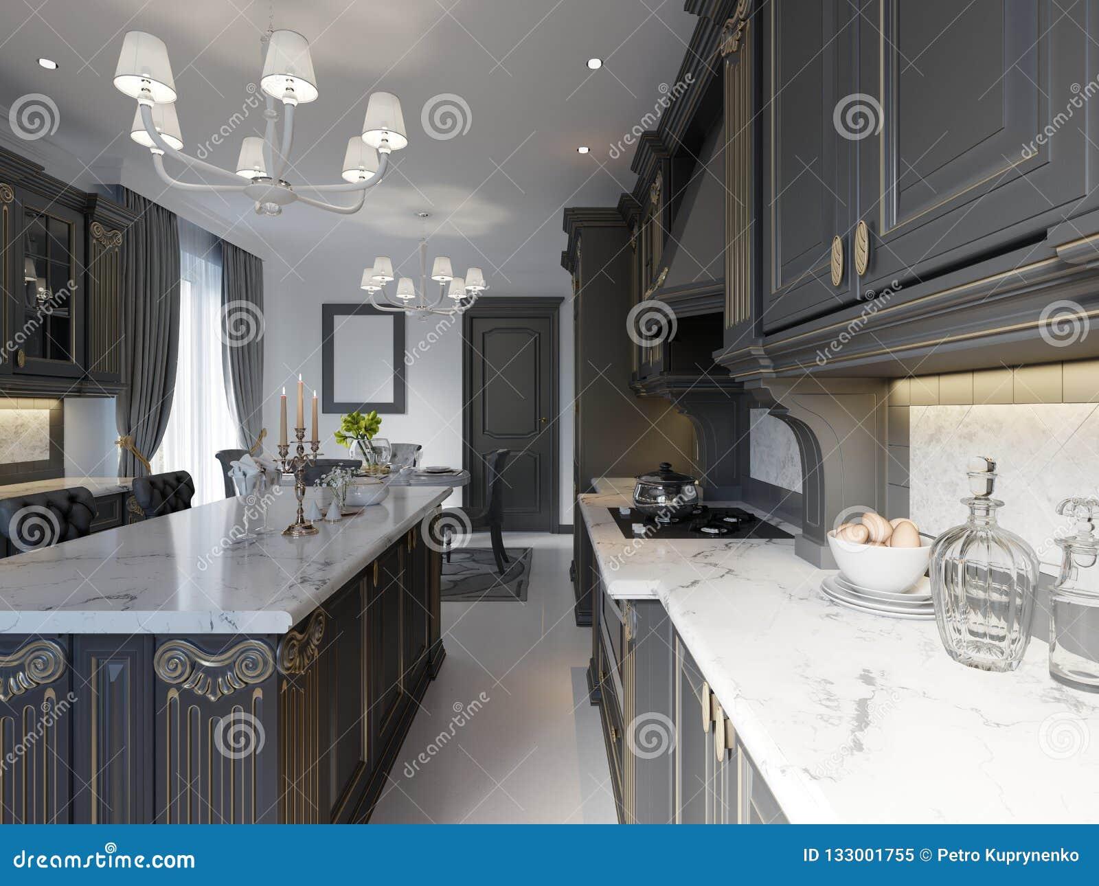 Diseño Interior De La Cocina Clásica Inglesa Moderna Del Estilo Con ...
