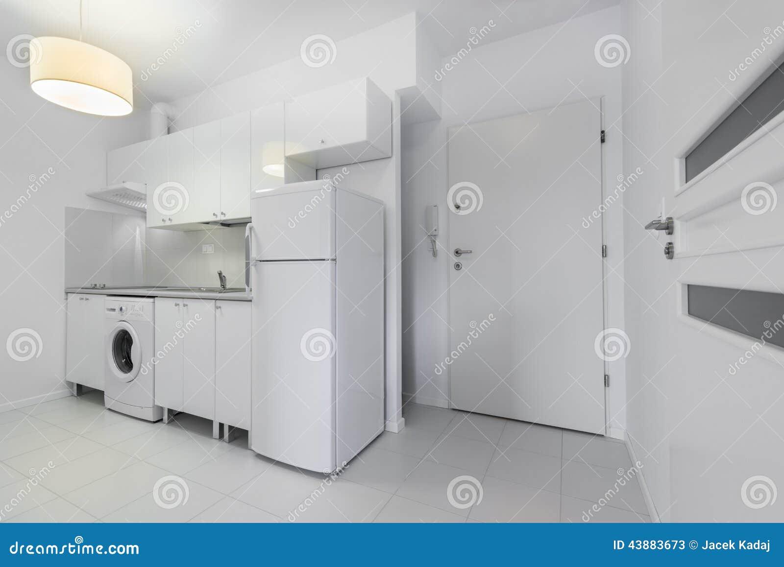 Diseño Interior De La Cocina Compacta Pequeña, Blanca Imagen de ...