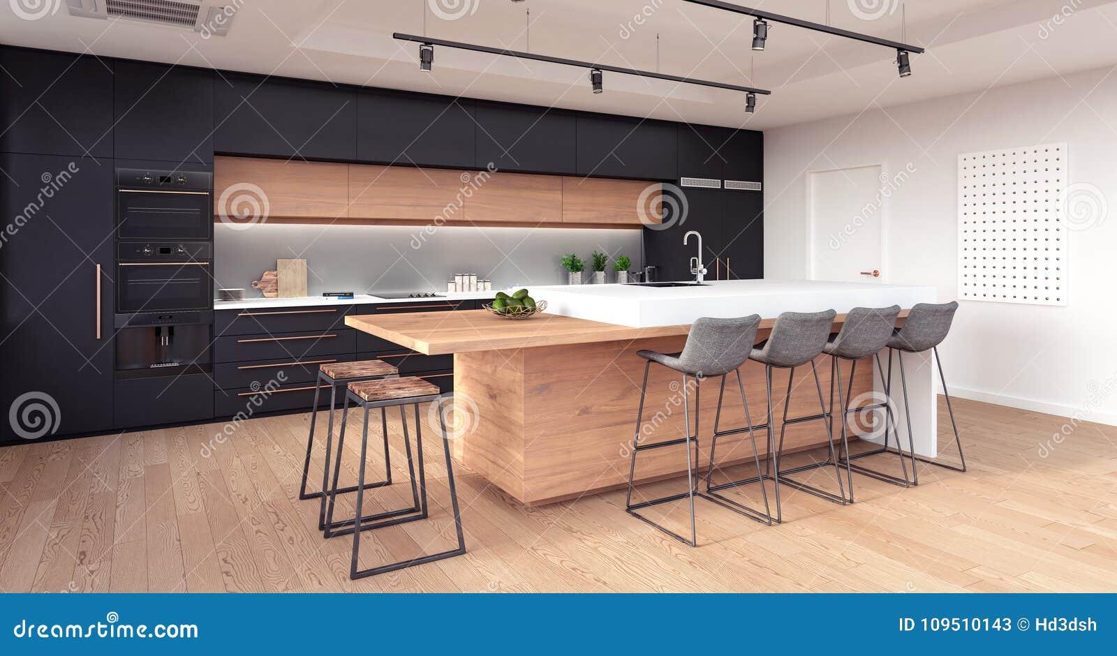 Diseño Interior De La Cocina Moderna Imagen de archivo - Imagen de ...