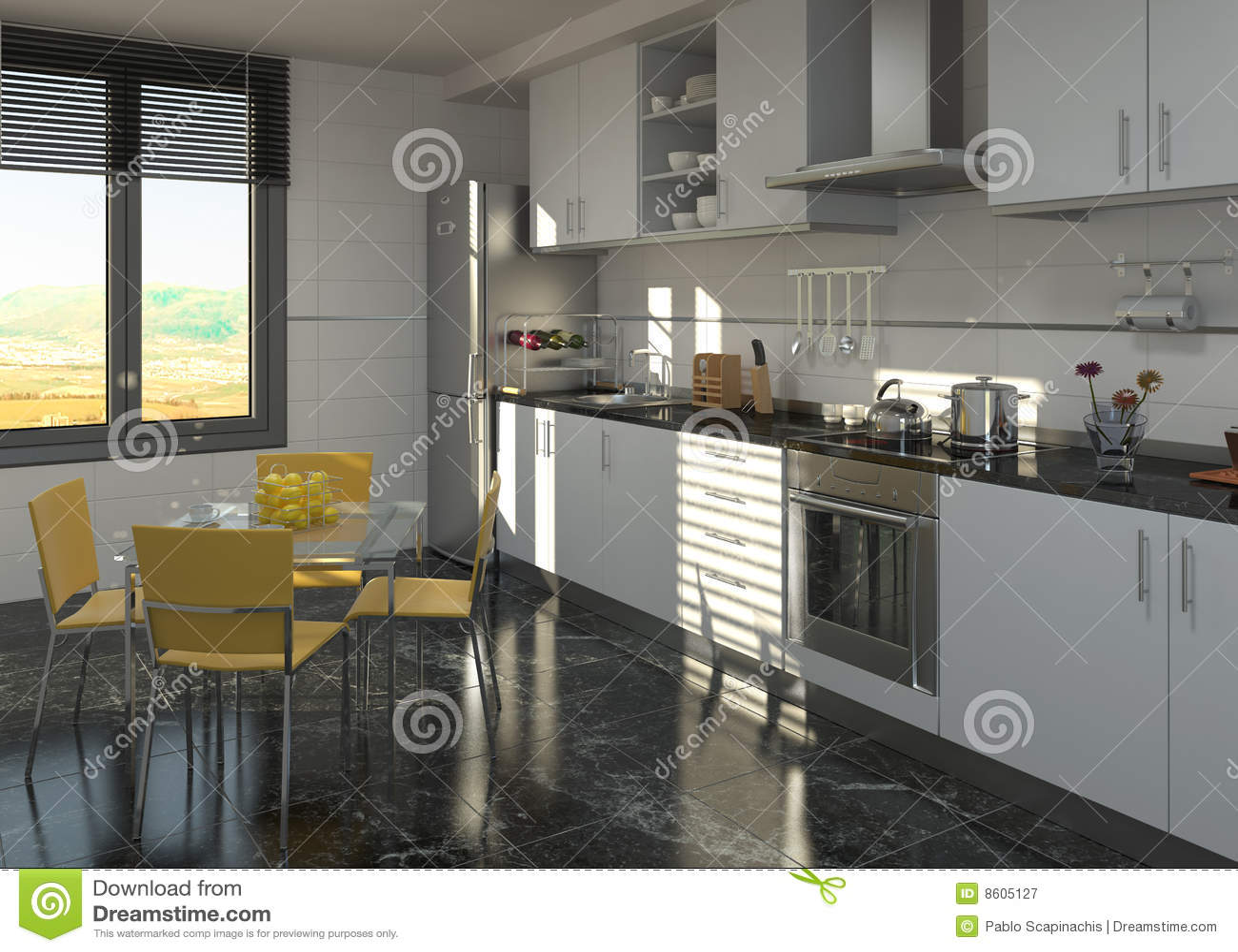 Dise o interior de la cocina moderna fotograf a de archivo for Interior cocinas modernas