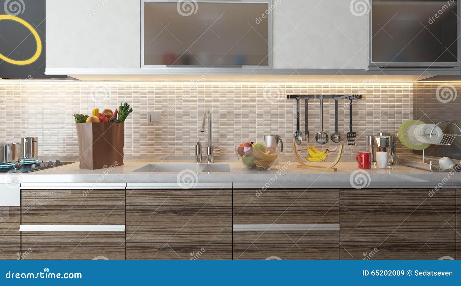 Dise o interior de la cocina moderna con la pared de for Ceramicas para cocinas modernas
