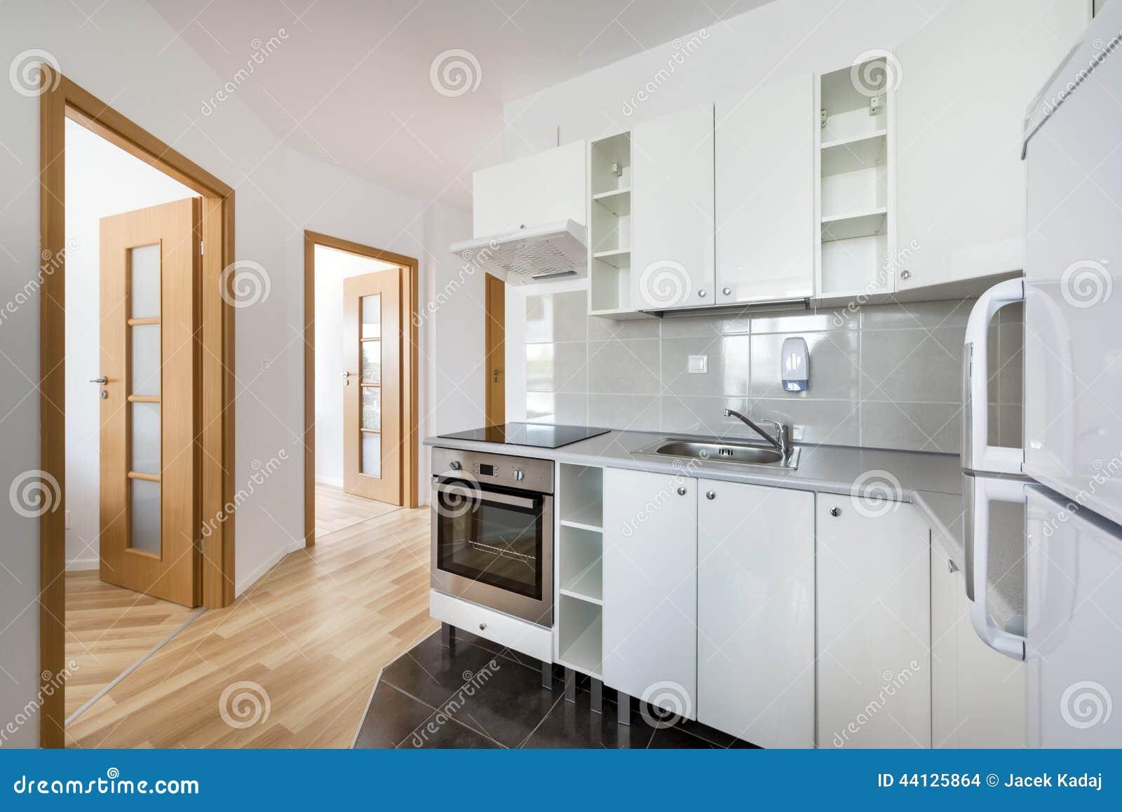 Diseño Interior De La Cocina Moderna Pequeña, Blanca Foto de archivo ...