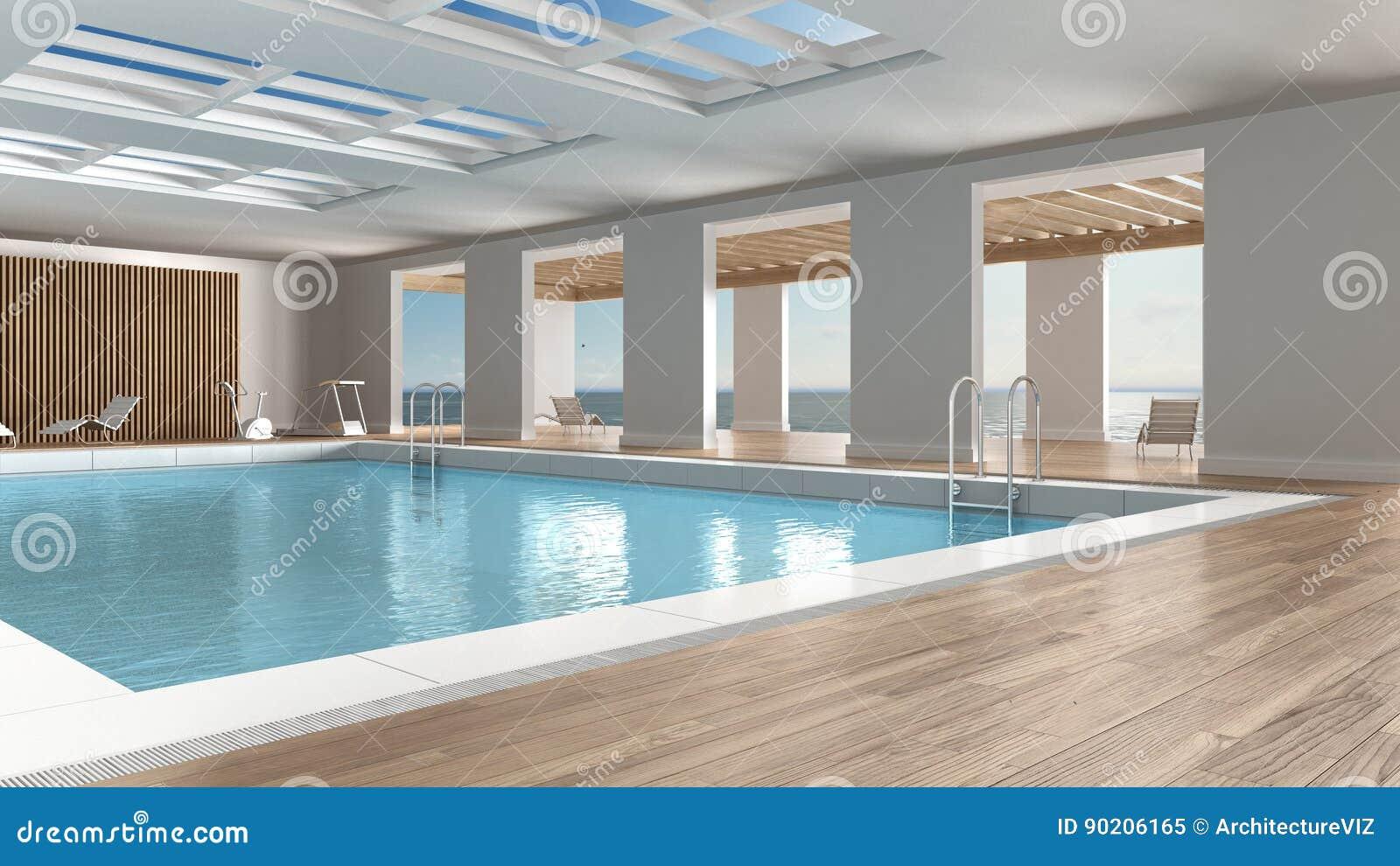 Diseño interior de la piscina, dentro con la ventana panorámica grande