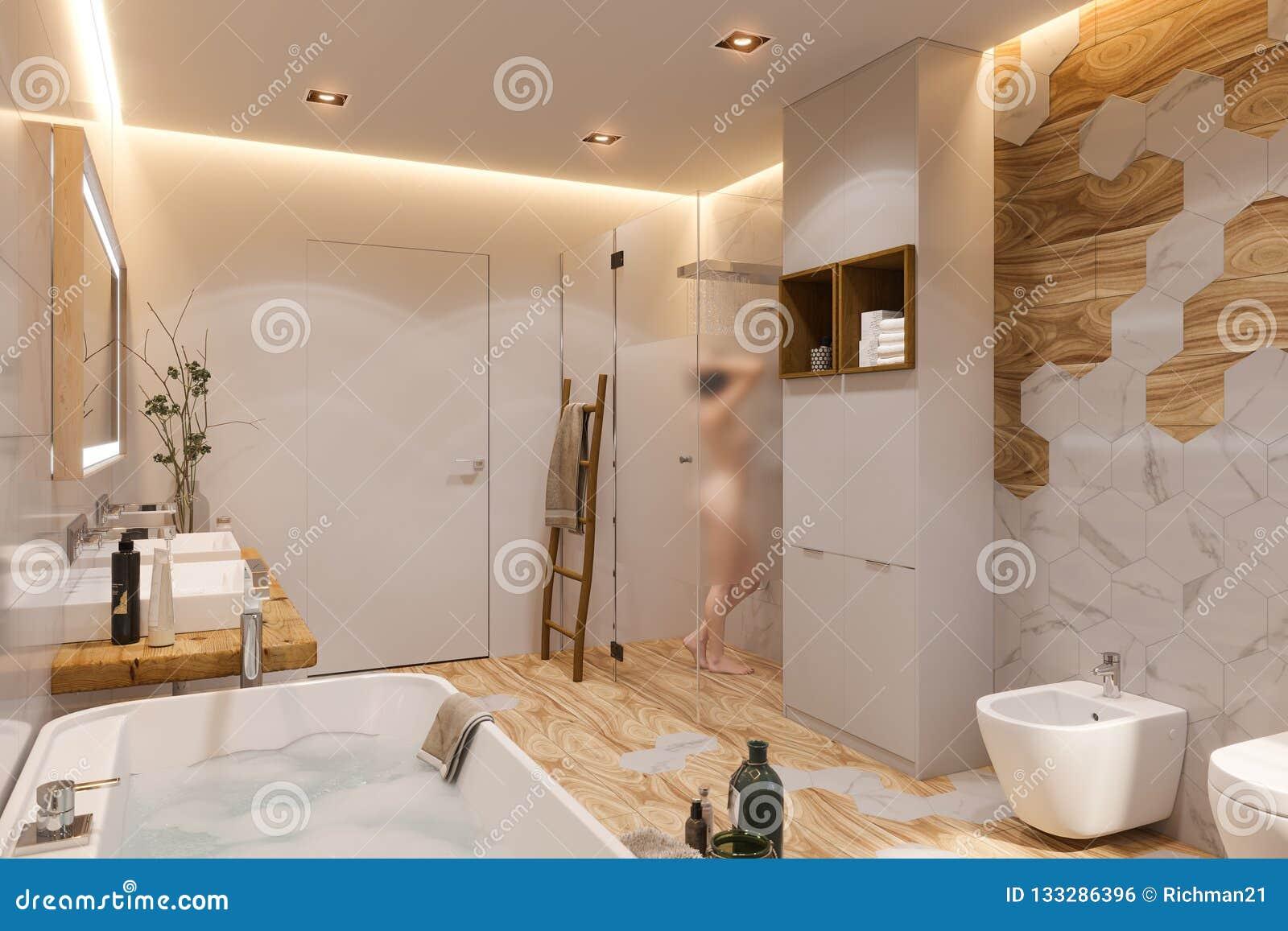 Diseño Interior De Un Cuarto De Baño, Ejemplo 3d En Un Estilo ...