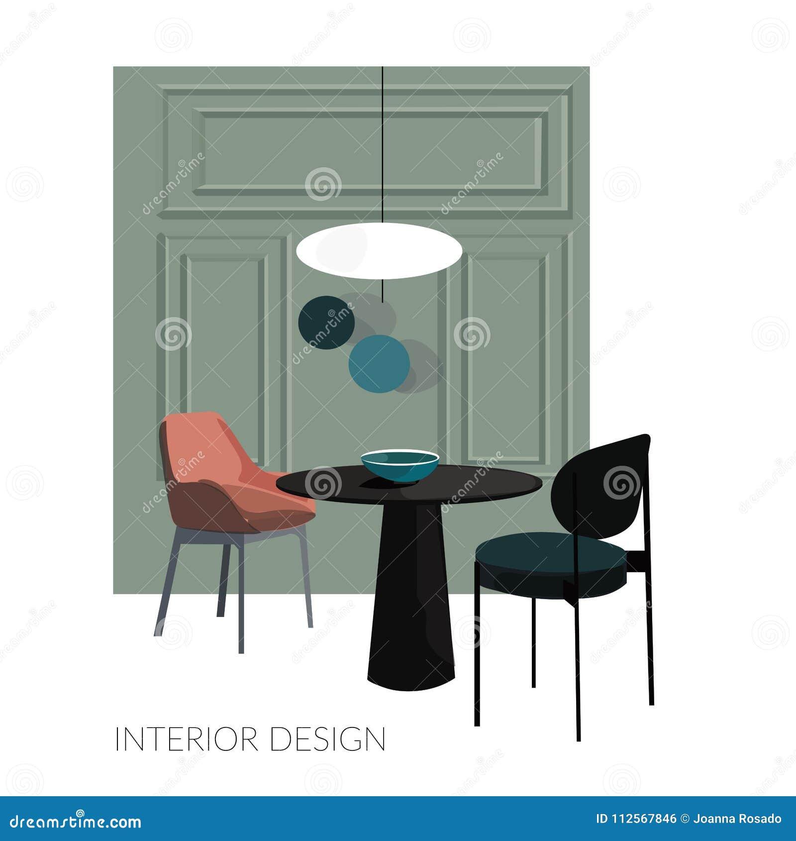 Diseño Interior Del Comedor De La Cocina Del Vector Dibujo De La
