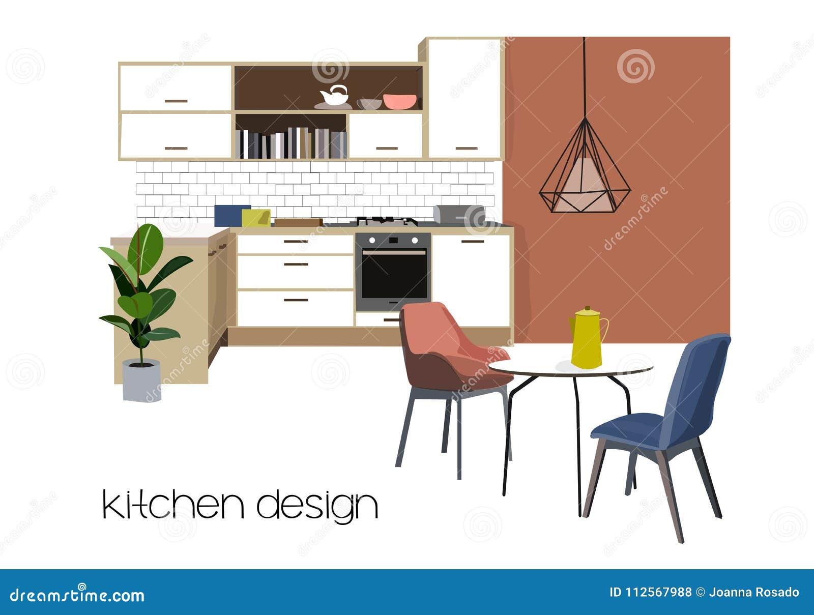 Diseño Interior Del Comedor De La Cocina Del Vector Dibujo De La ...