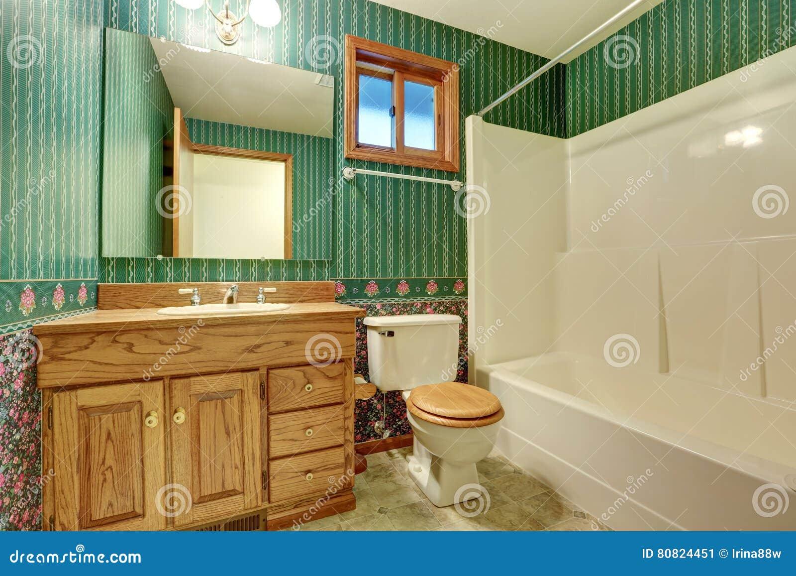 Diseño Interior Del Cuarto De Baño Verde En Estilo Del Vintage ...